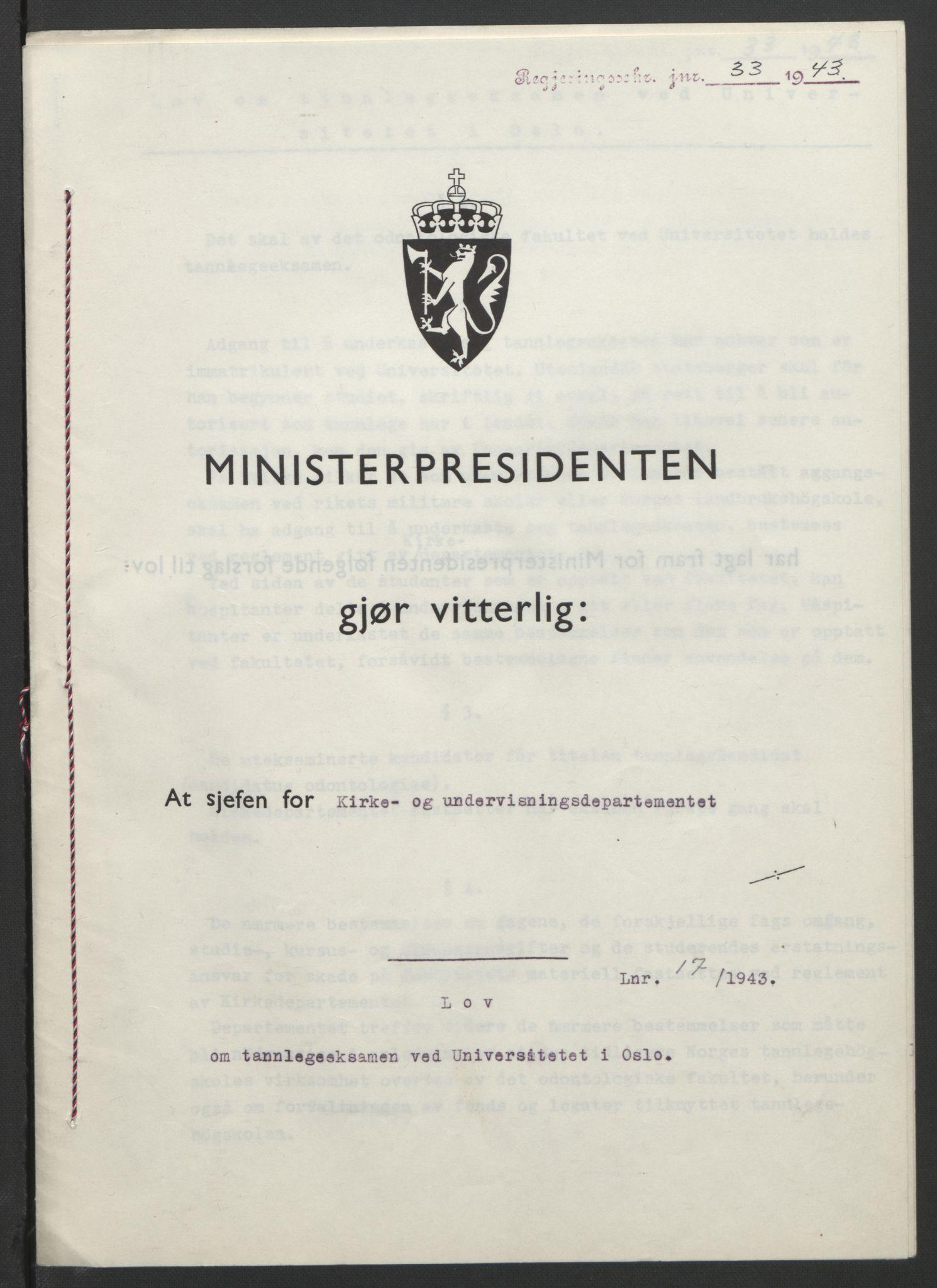 RA, NS-administrasjonen 1940-1945 (Statsrådsekretariatet, de kommisariske statsråder mm), D/Db/L0099: Lover, 1943, s. 67