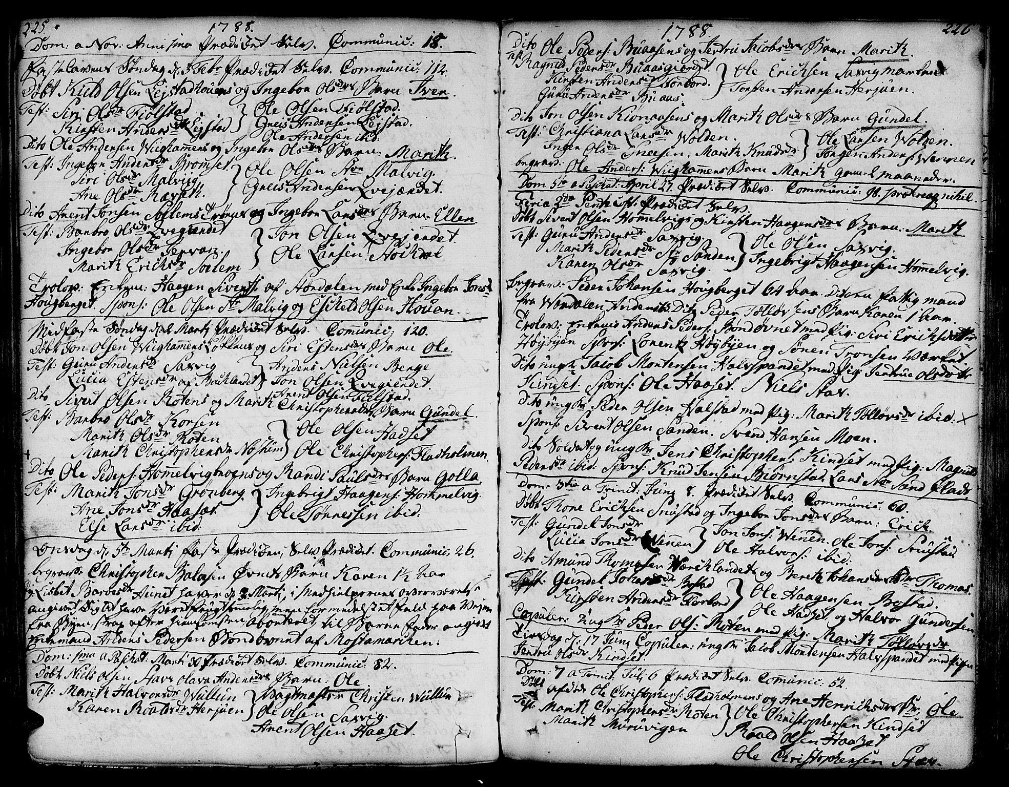 SAT, Ministerialprotokoller, klokkerbøker og fødselsregistre - Sør-Trøndelag, 606/L0281: Ministerialbok nr. 606A02 /2, 1781-1817, s. 225-226