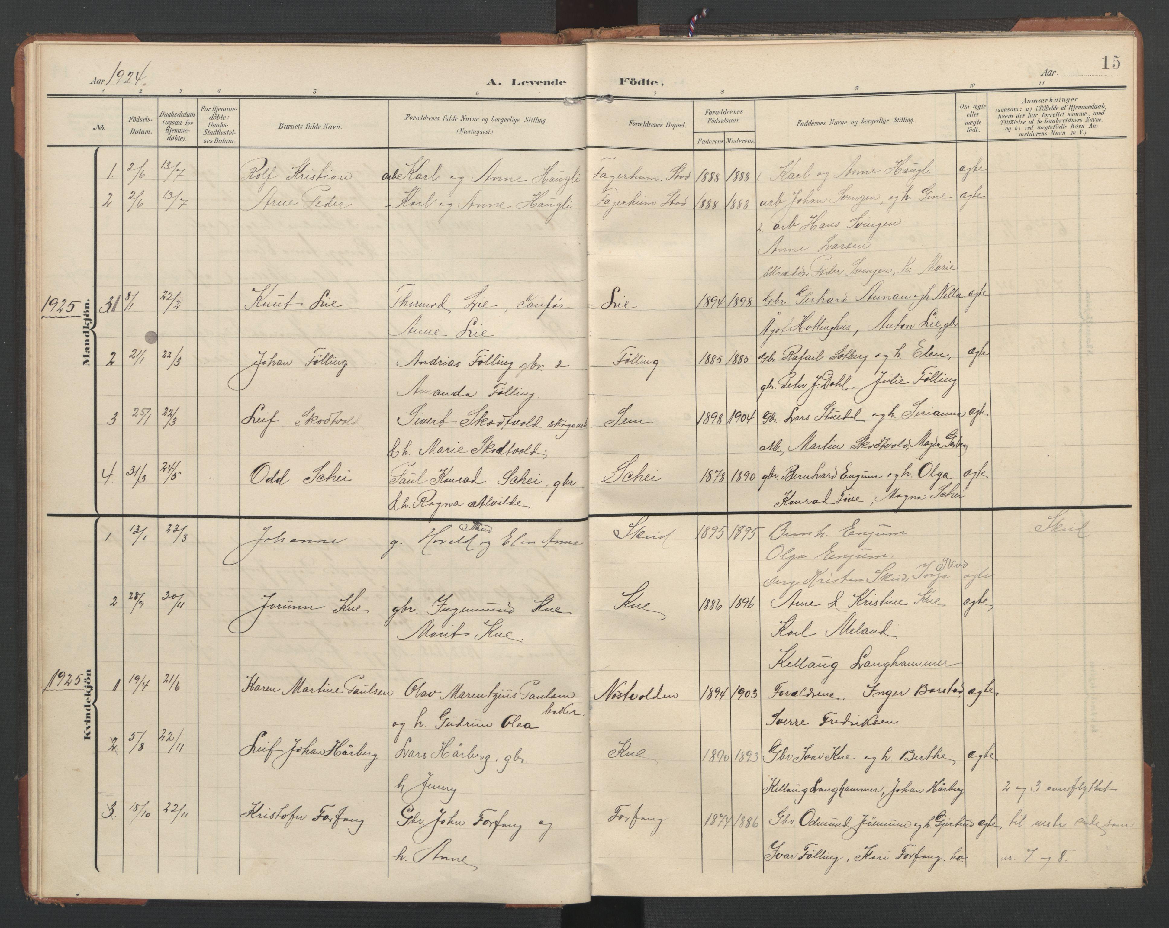 SAT, Ministerialprotokoller, klokkerbøker og fødselsregistre - Nord-Trøndelag, 748/L0465: Klokkerbok nr. 748C01, 1908-1960, s. 15