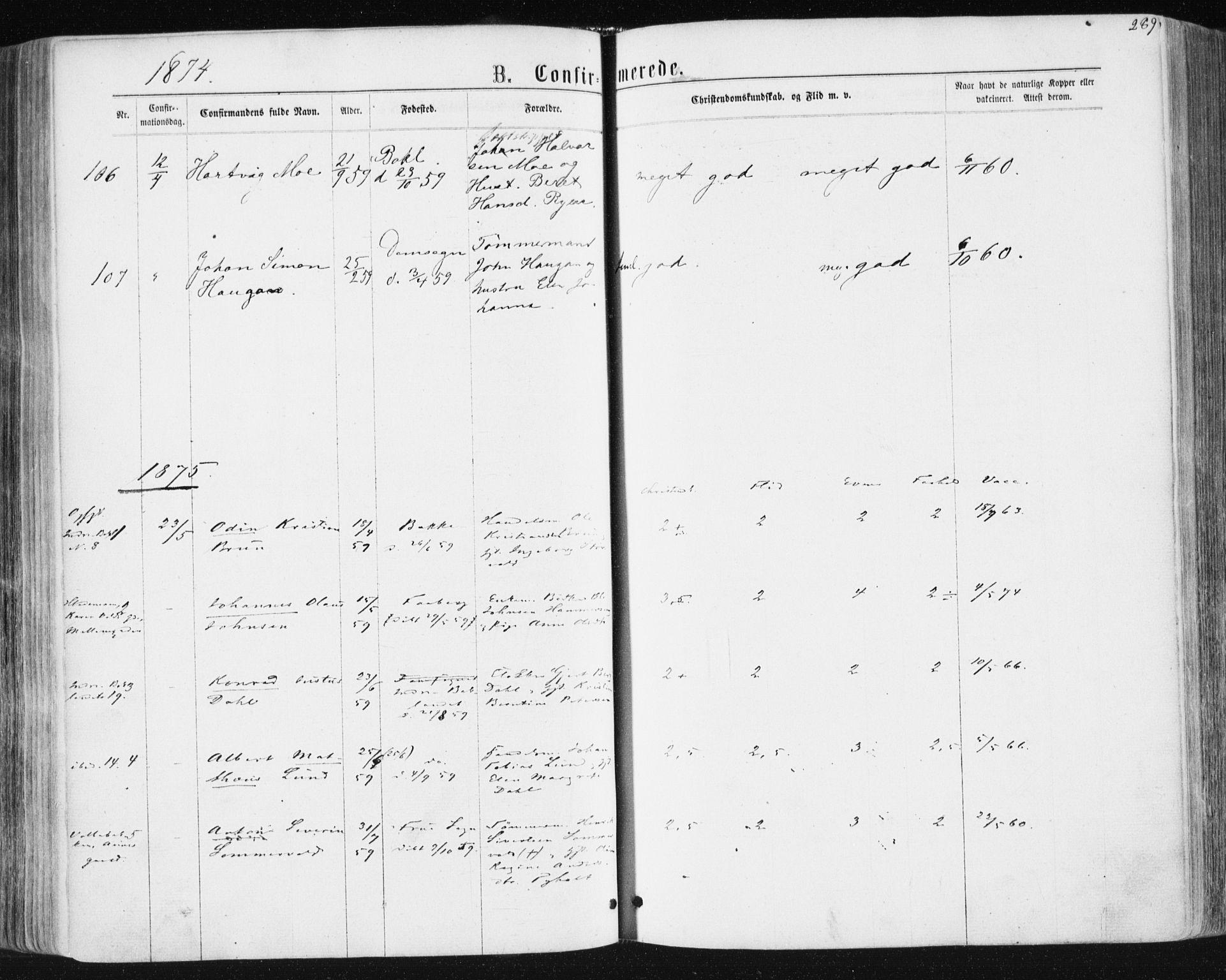 SAT, Ministerialprotokoller, klokkerbøker og fødselsregistre - Sør-Trøndelag, 604/L0186: Ministerialbok nr. 604A07, 1866-1877, s. 289