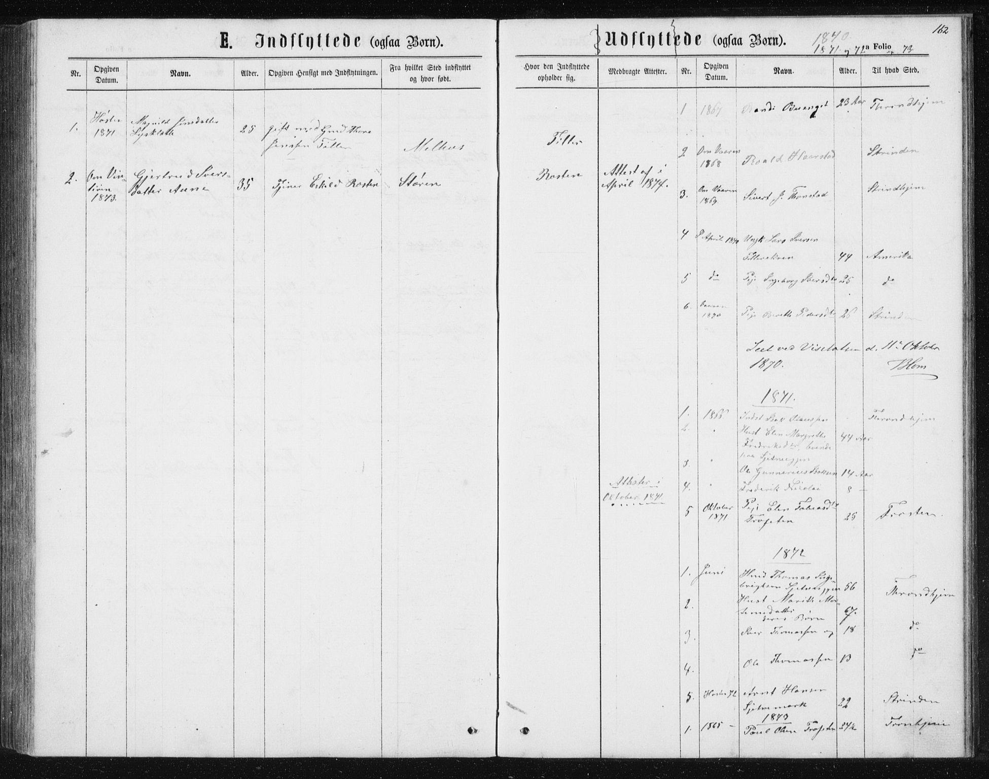 SAT, Ministerialprotokoller, klokkerbøker og fødselsregistre - Sør-Trøndelag, 621/L0459: Klokkerbok nr. 621C02, 1866-1895, s. 162