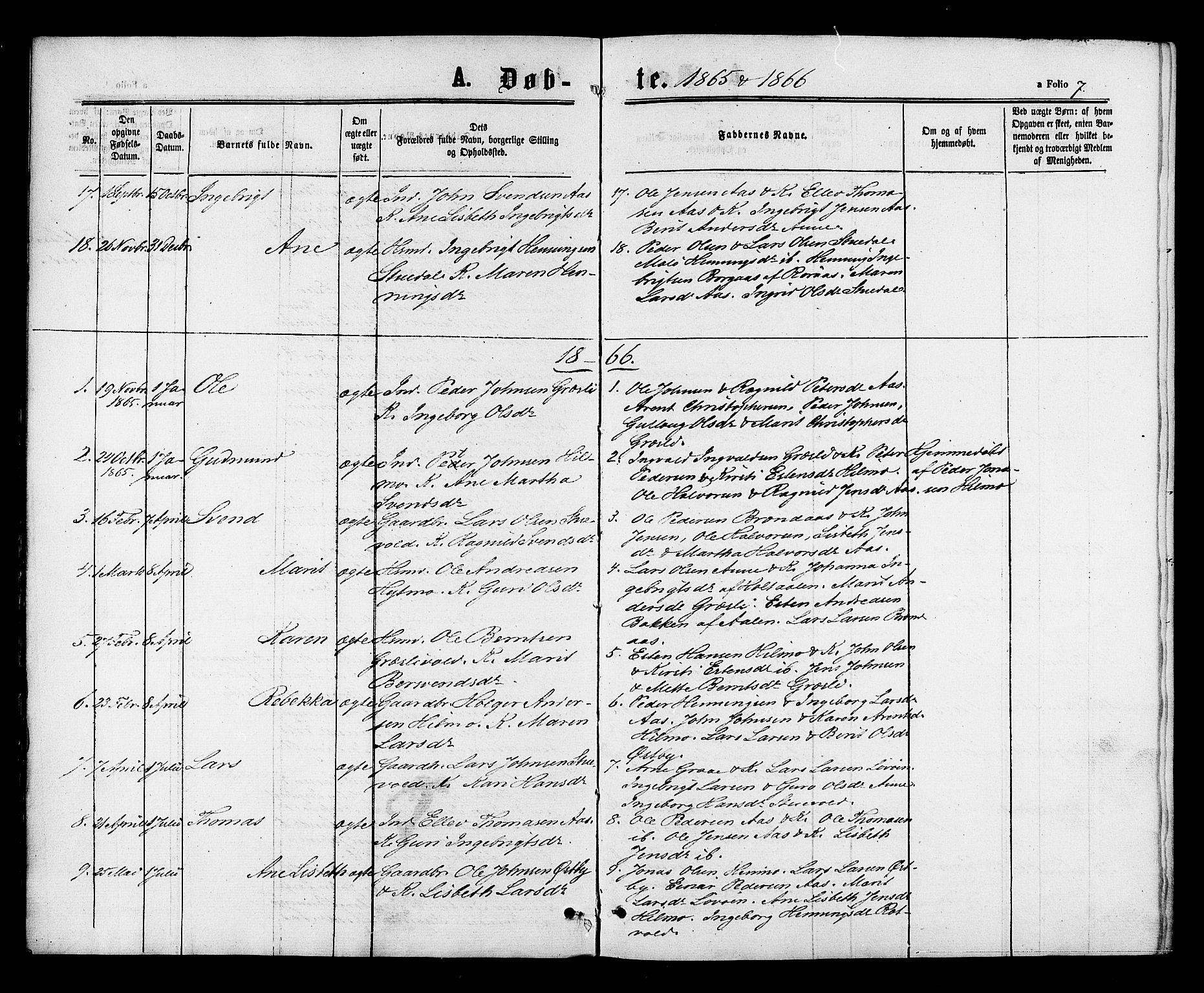 SAT, Ministerialprotokoller, klokkerbøker og fødselsregistre - Sør-Trøndelag, 698/L1163: Ministerialbok nr. 698A01, 1862-1887, s. 7