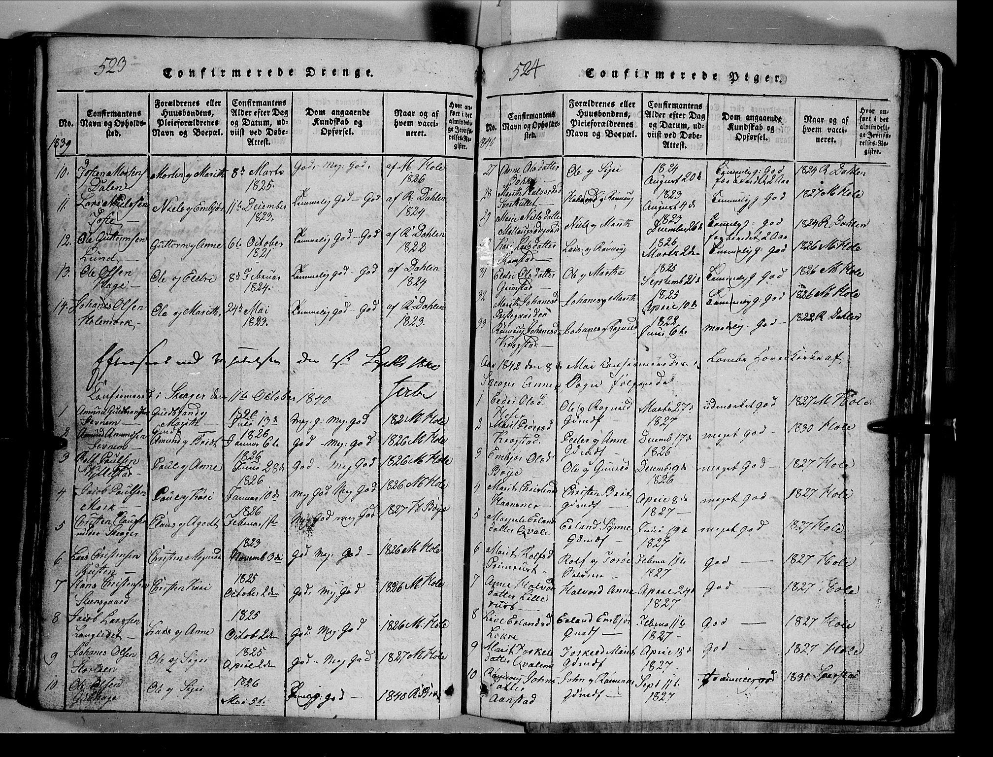 SAH, Lom prestekontor, L/L0003: Klokkerbok nr. 3, 1815-1844, s. 523-524