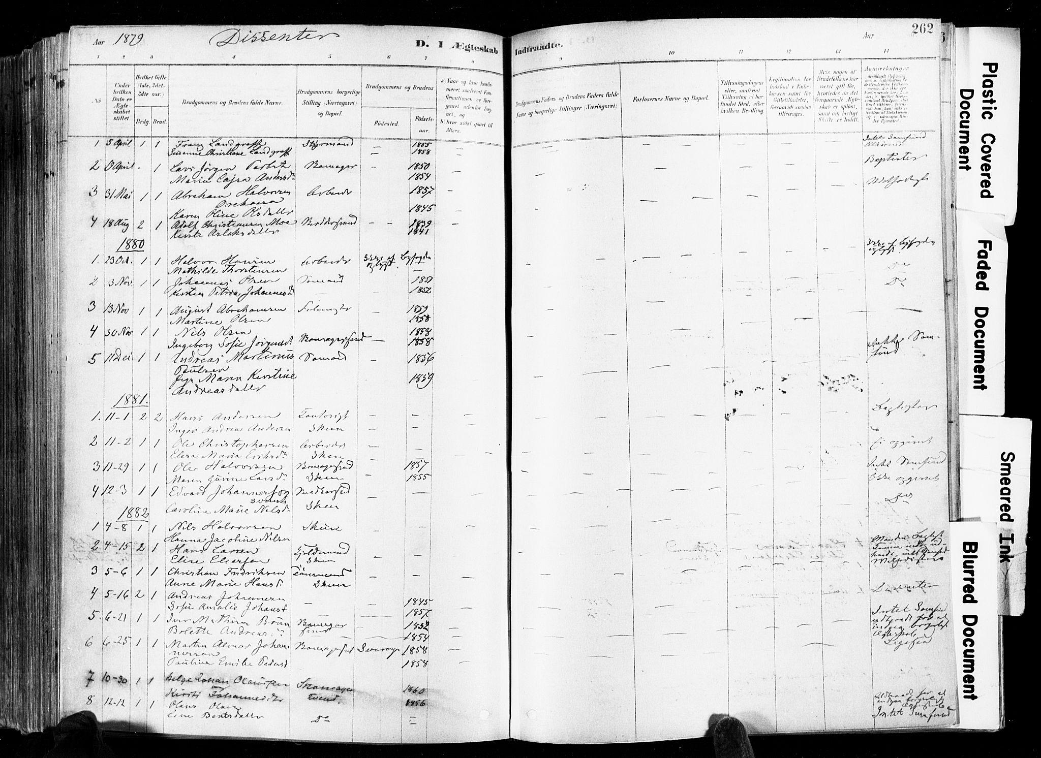 SAKO, Skien kirkebøker, F/Fa/L0009: Ministerialbok nr. 9, 1878-1890, s. 262