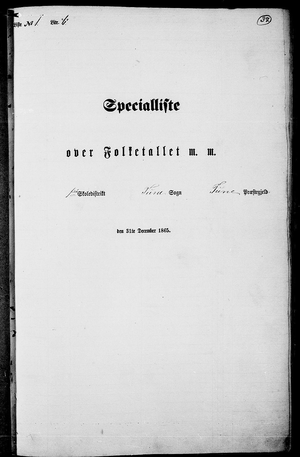 RA, Folketelling 1865 for 0130P Tune prestegjeld, 1865, s. 34