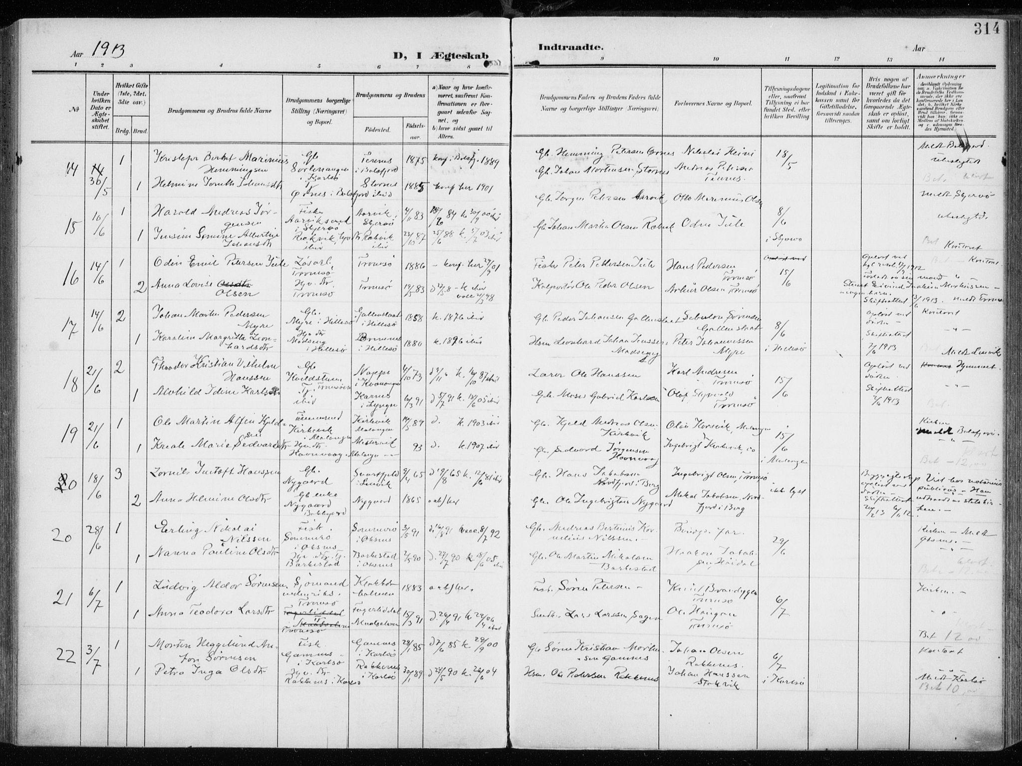 SATØ, Tromsøysund sokneprestkontor, G/Ga/L0007kirke: Ministerialbok nr. 7, 1907-1914, s. 314