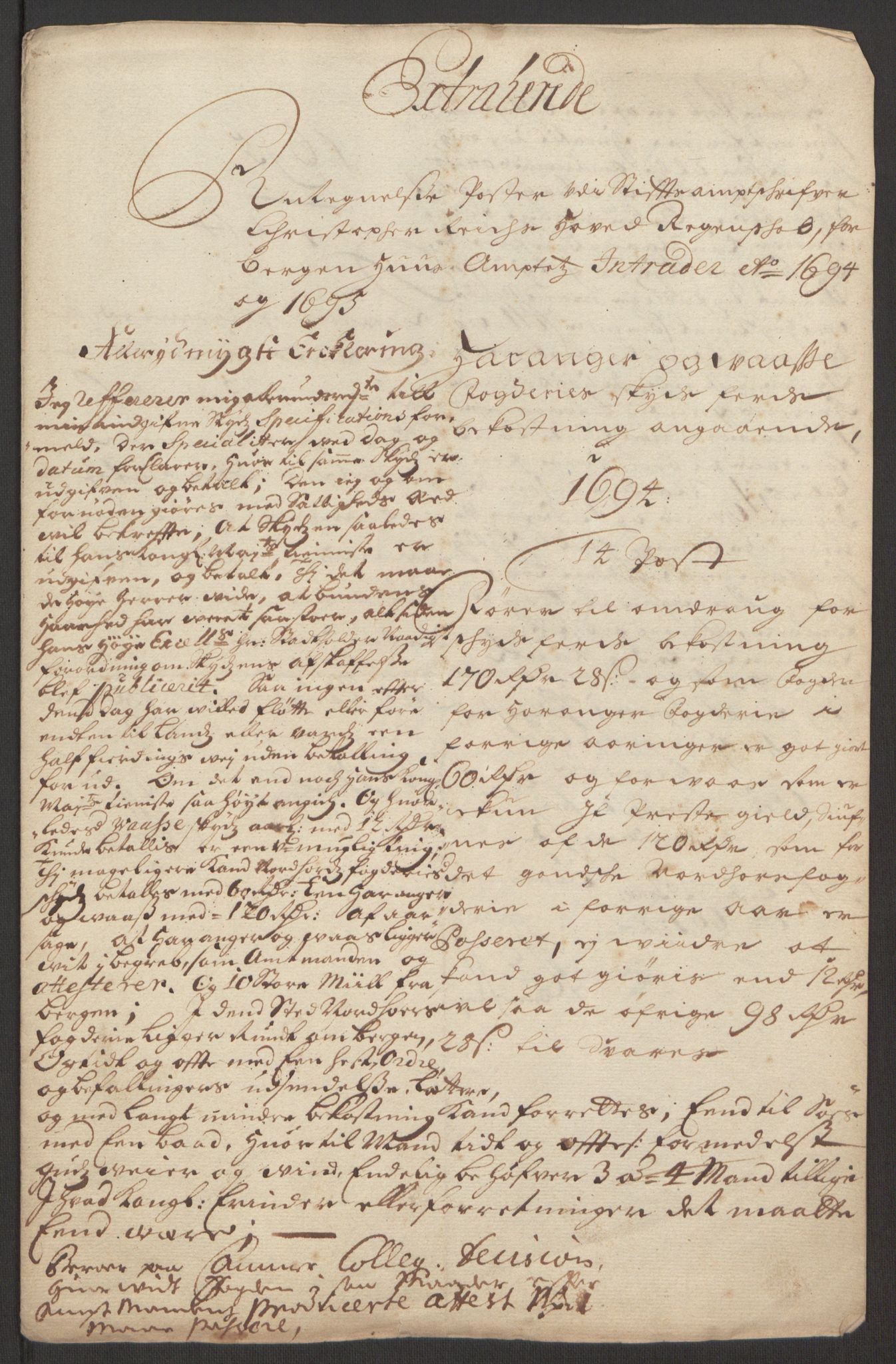 RA, Rentekammeret inntil 1814, Reviderte regnskaper, Fogderegnskap, R48/L2976: Fogderegnskap Sunnhordland og Hardanger, 1695-1696, s. 220