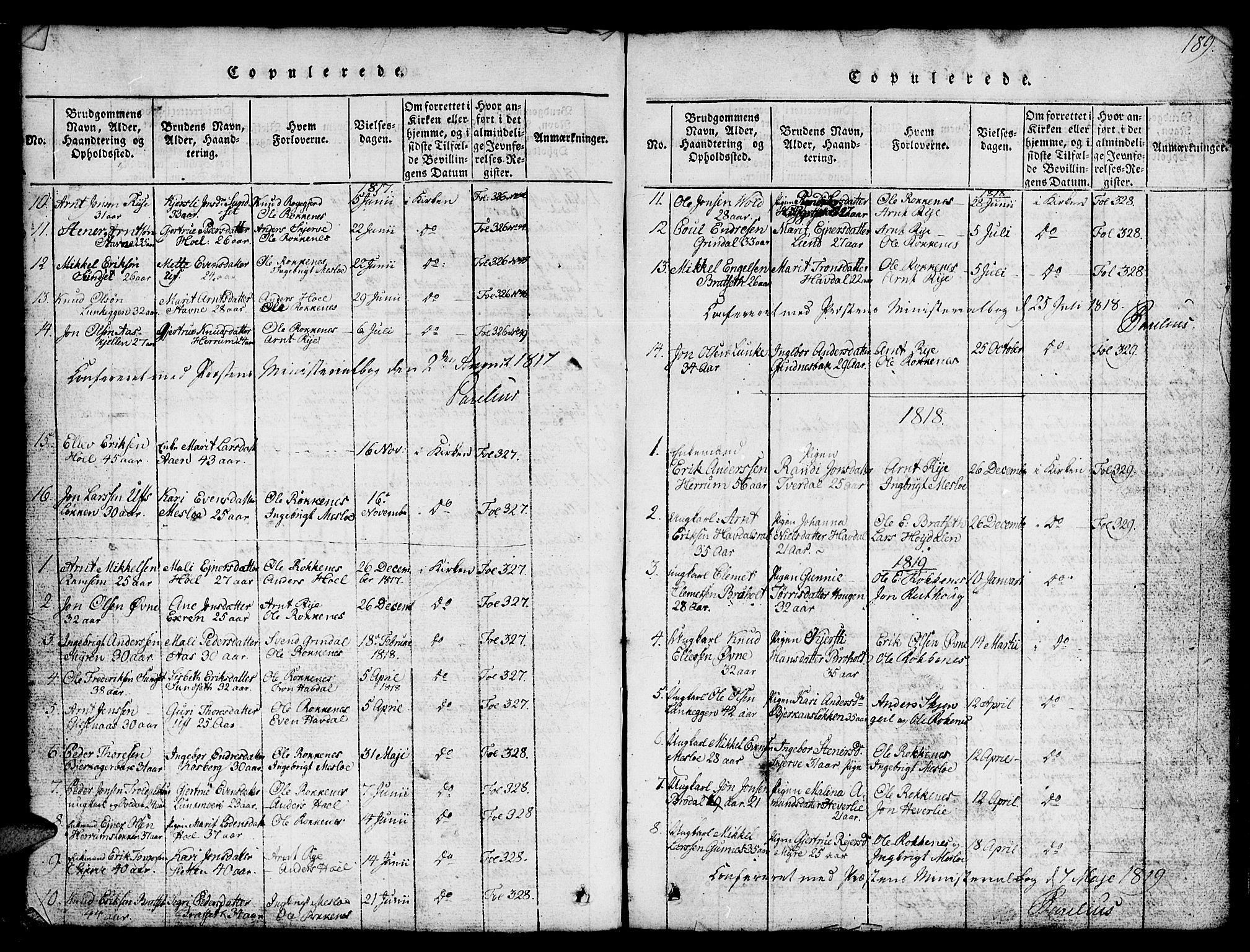SAT, Ministerialprotokoller, klokkerbøker og fødselsregistre - Sør-Trøndelag, 674/L0874: Klokkerbok nr. 674C01, 1816-1860, s. 189