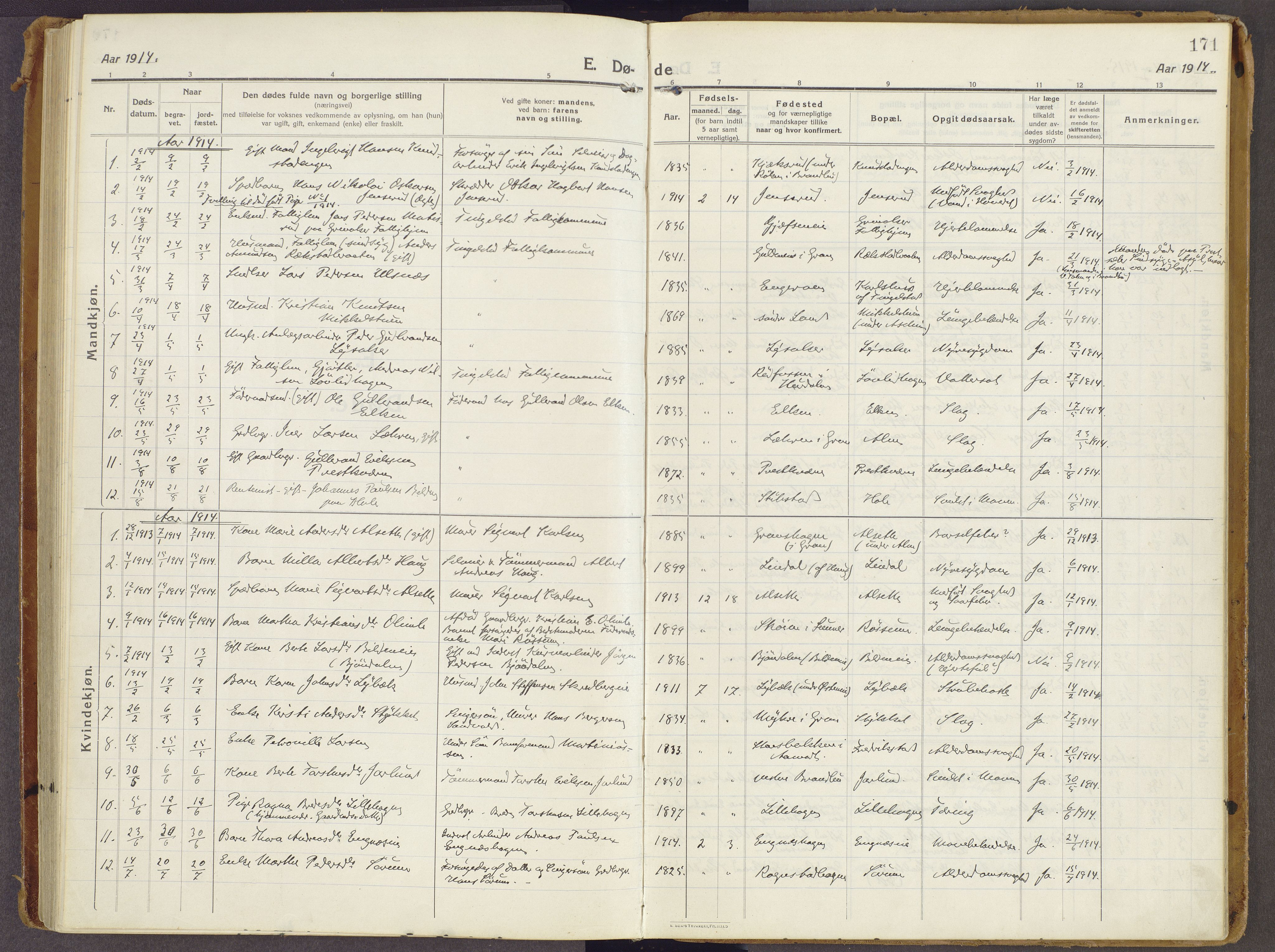 SAH, Brandbu prestekontor, Ministerialbok nr. 3, 1914-1928, s. 171