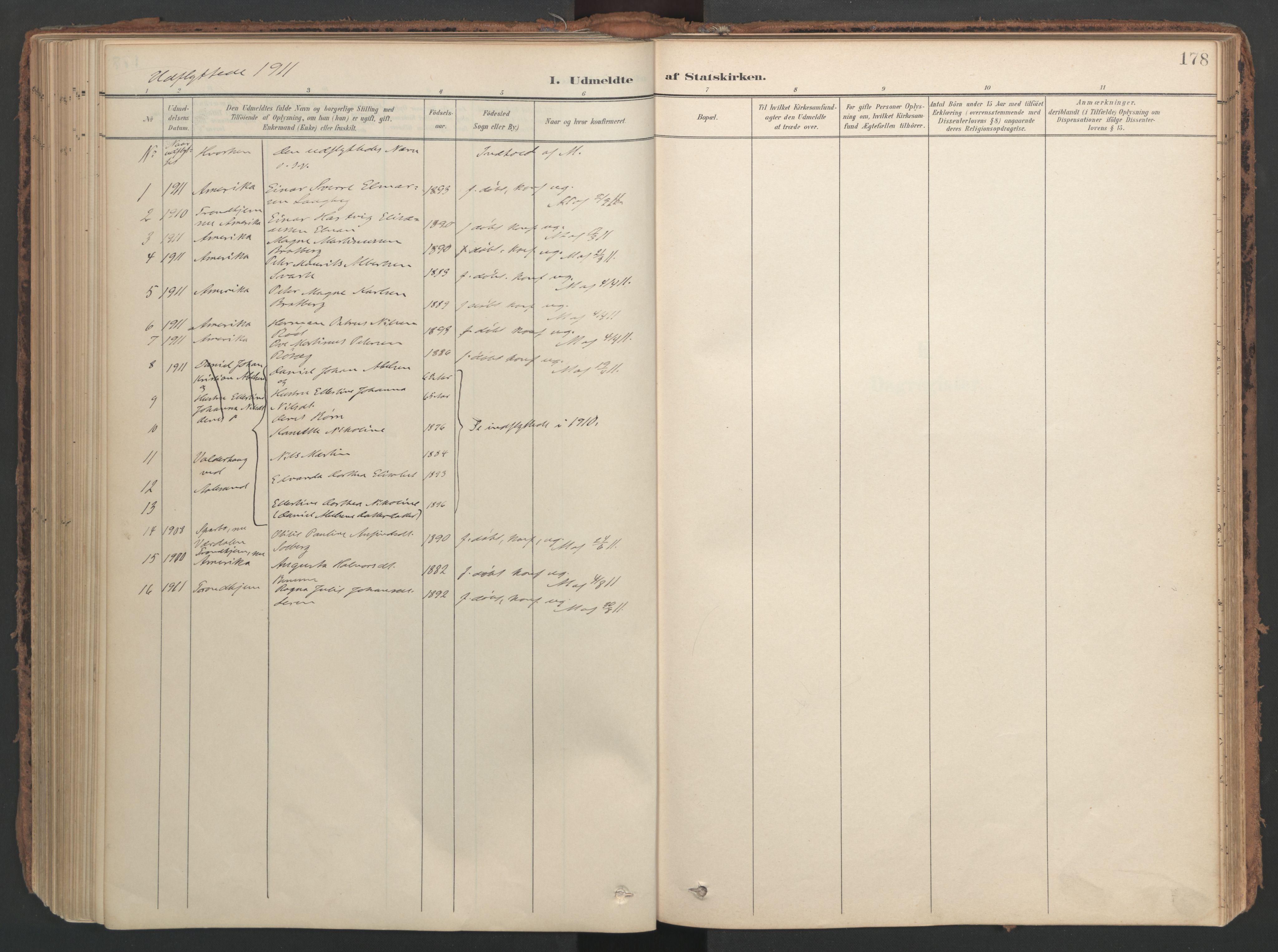 SAT, Ministerialprotokoller, klokkerbøker og fødselsregistre - Nord-Trøndelag, 741/L0397: Ministerialbok nr. 741A11, 1901-1911, s. 178