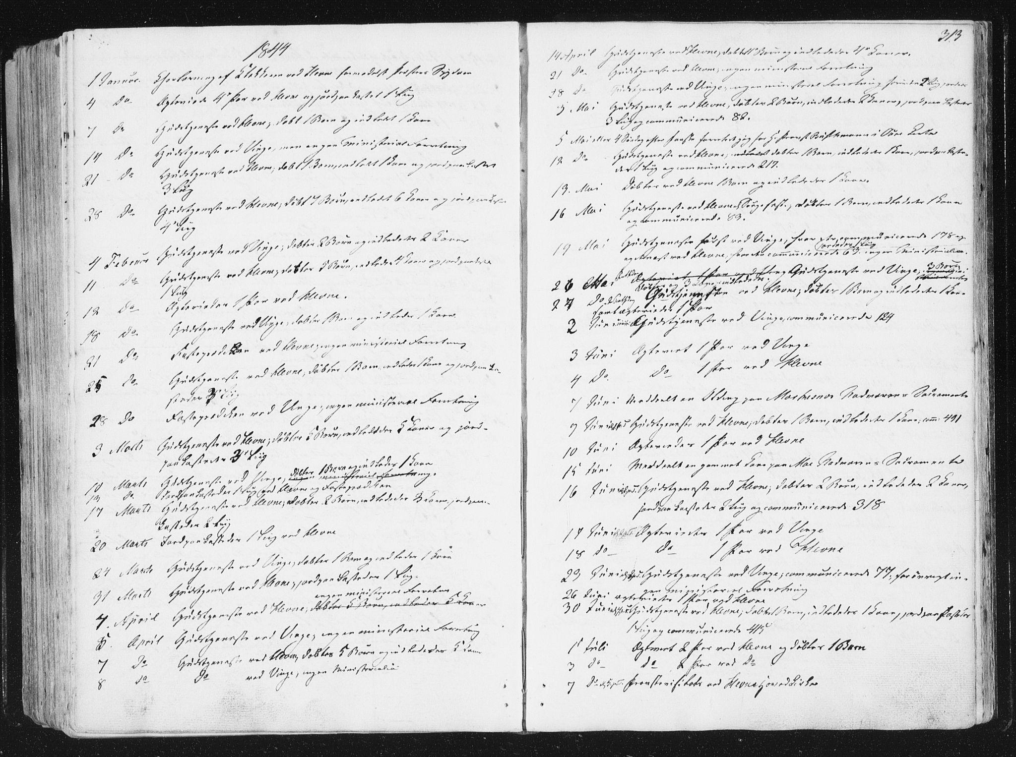 SAT, Ministerialprotokoller, klokkerbøker og fødselsregistre - Sør-Trøndelag, 630/L0493: Ministerialbok nr. 630A06, 1841-1851, s. 313
