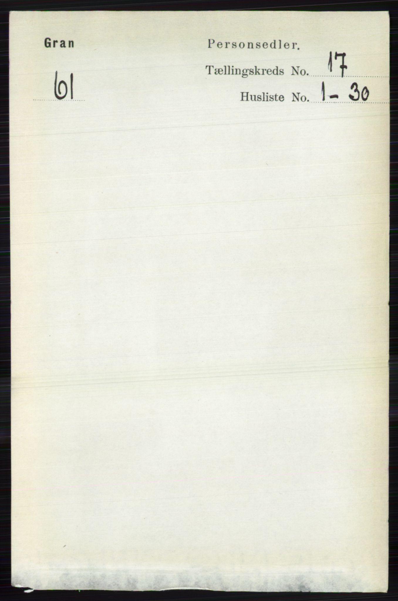 RA, Folketelling 1891 for 0534 Gran herred, 1891, s. 8735