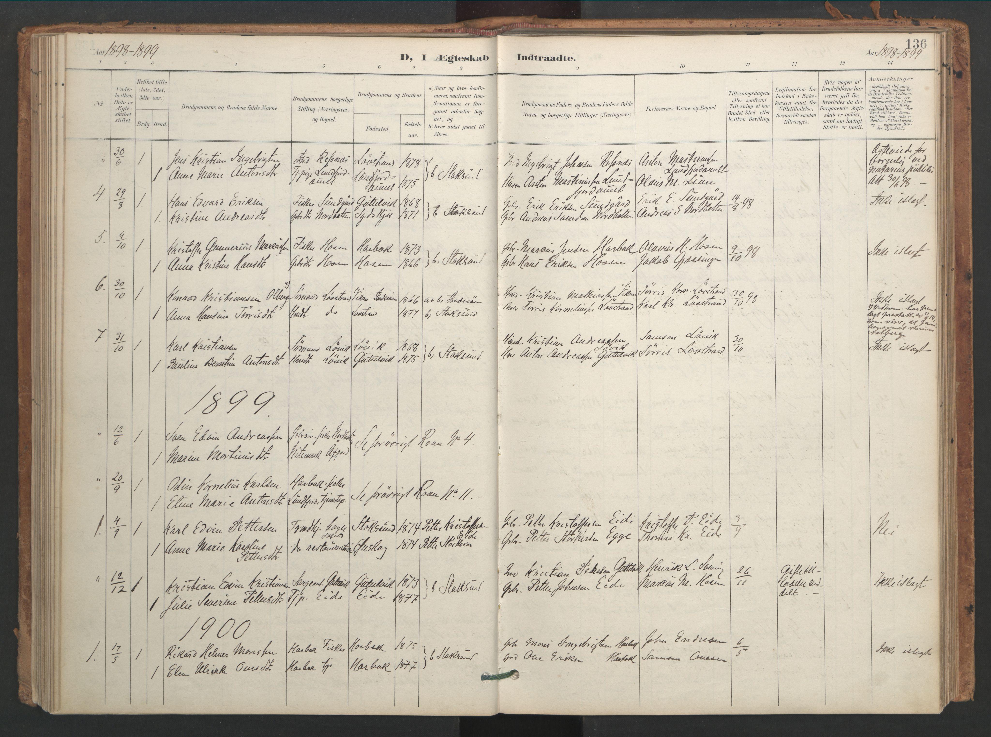 SAT, Ministerialprotokoller, klokkerbøker og fødselsregistre - Sør-Trøndelag, 656/L0693: Ministerialbok nr. 656A02, 1894-1913, s. 136