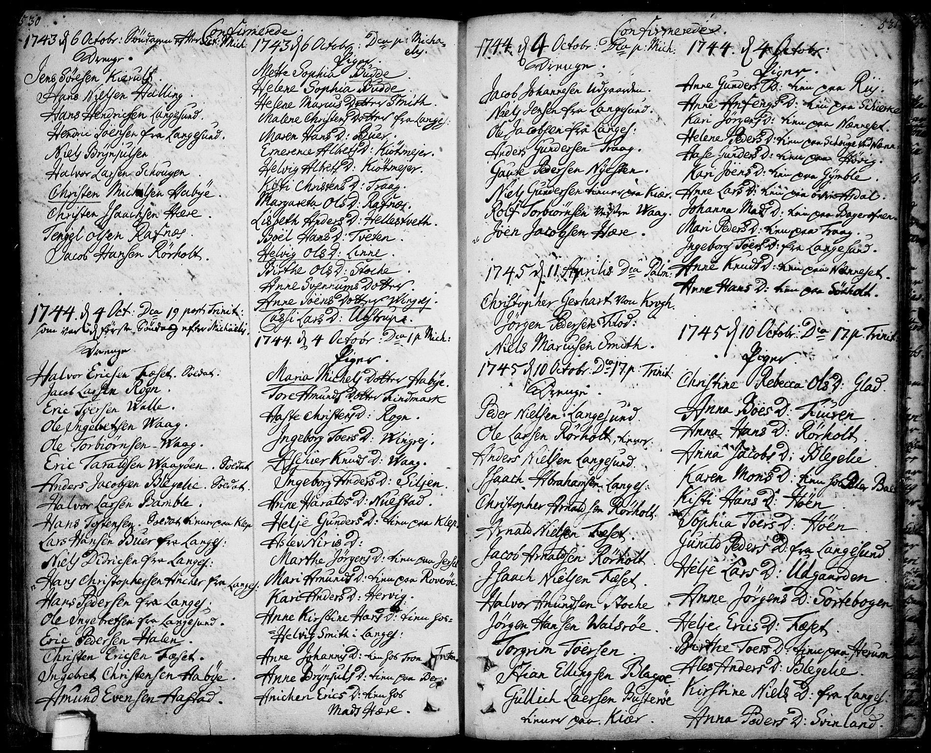 SAKO, Bamble kirkebøker, F/Fa/L0001: Ministerialbok nr. I 1, 1702-1774, s. 530-531