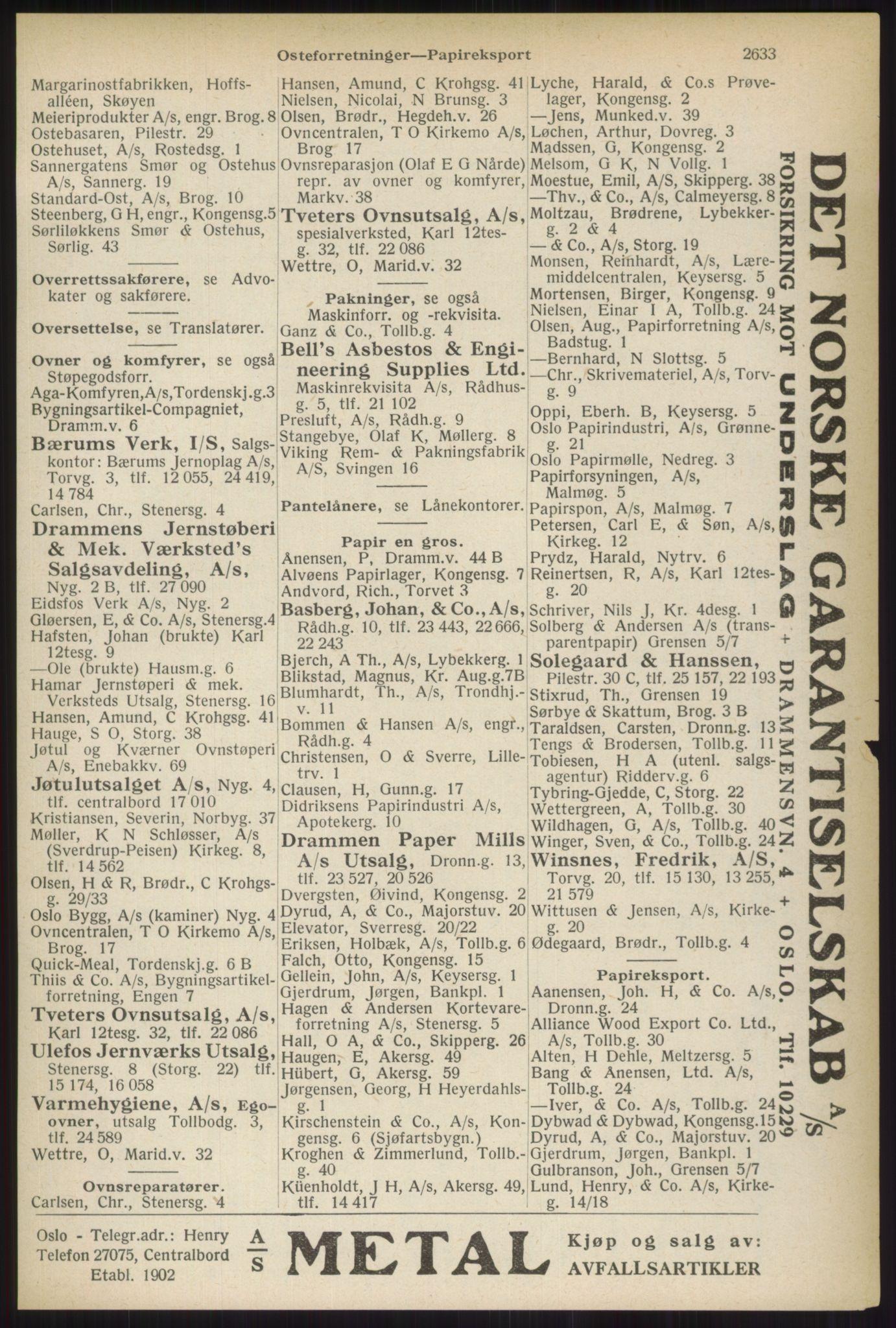 RA, Oslo adressebok (publikasjon)*, 1937, s. 2633