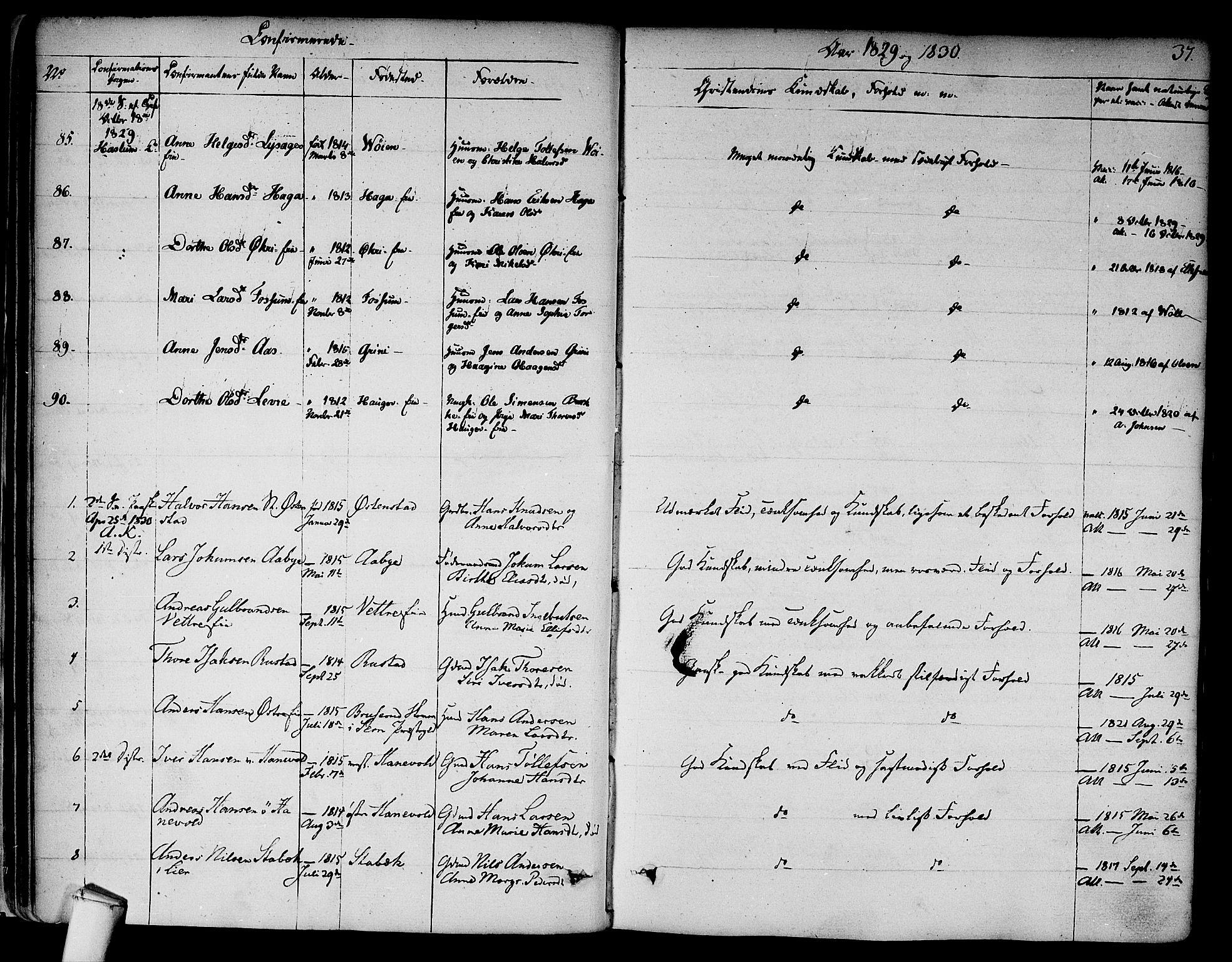 SAO, Asker prestekontor Kirkebøker, F/Fa/L0009: Ministerialbok nr. I 9, 1825-1878, s. 37