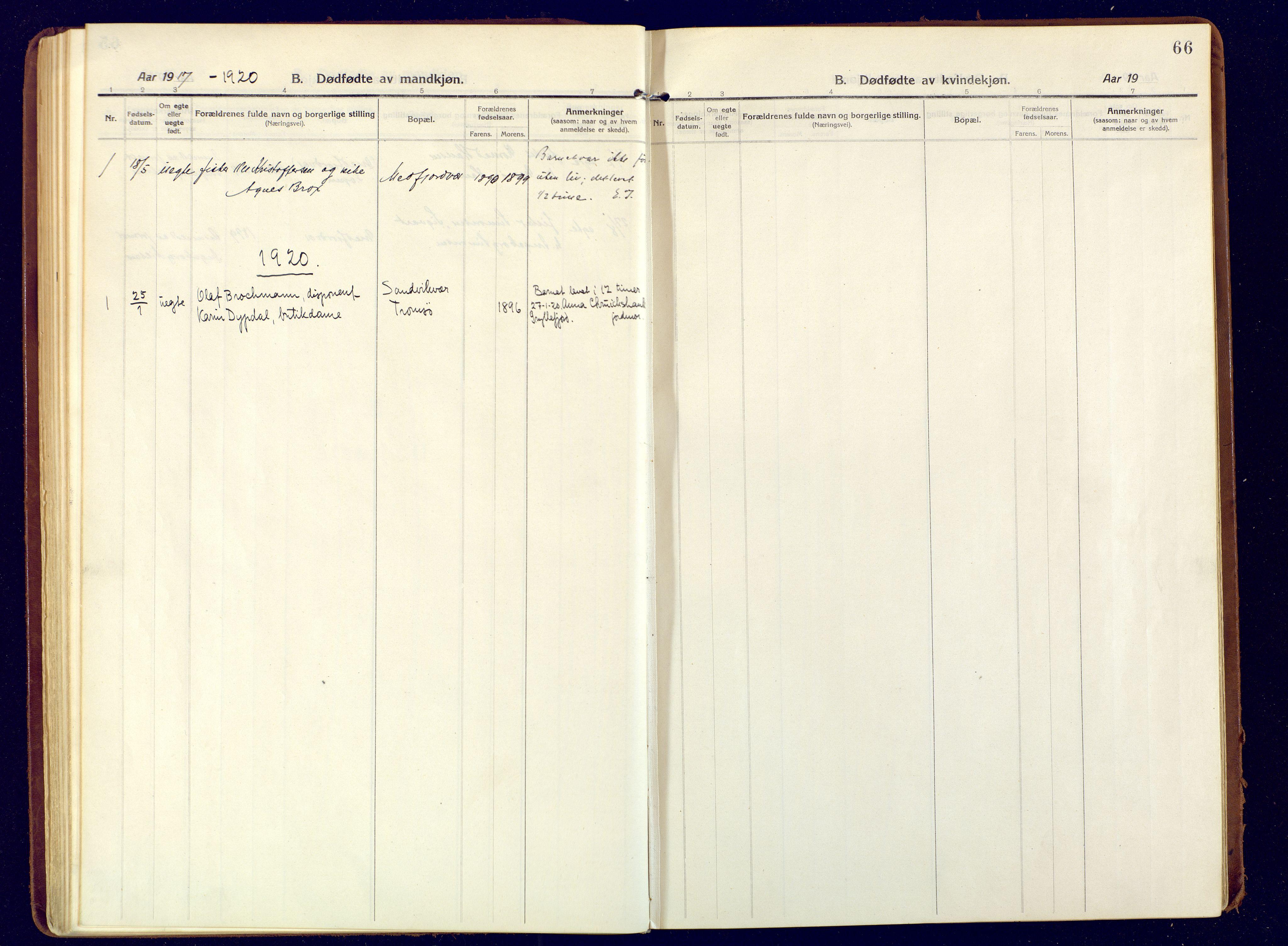 SATØ, Mefjord/Berg sokneprestkontor, G/Ga/Gaa: Ministerialbok nr. 9, 1916-1928, s. 66