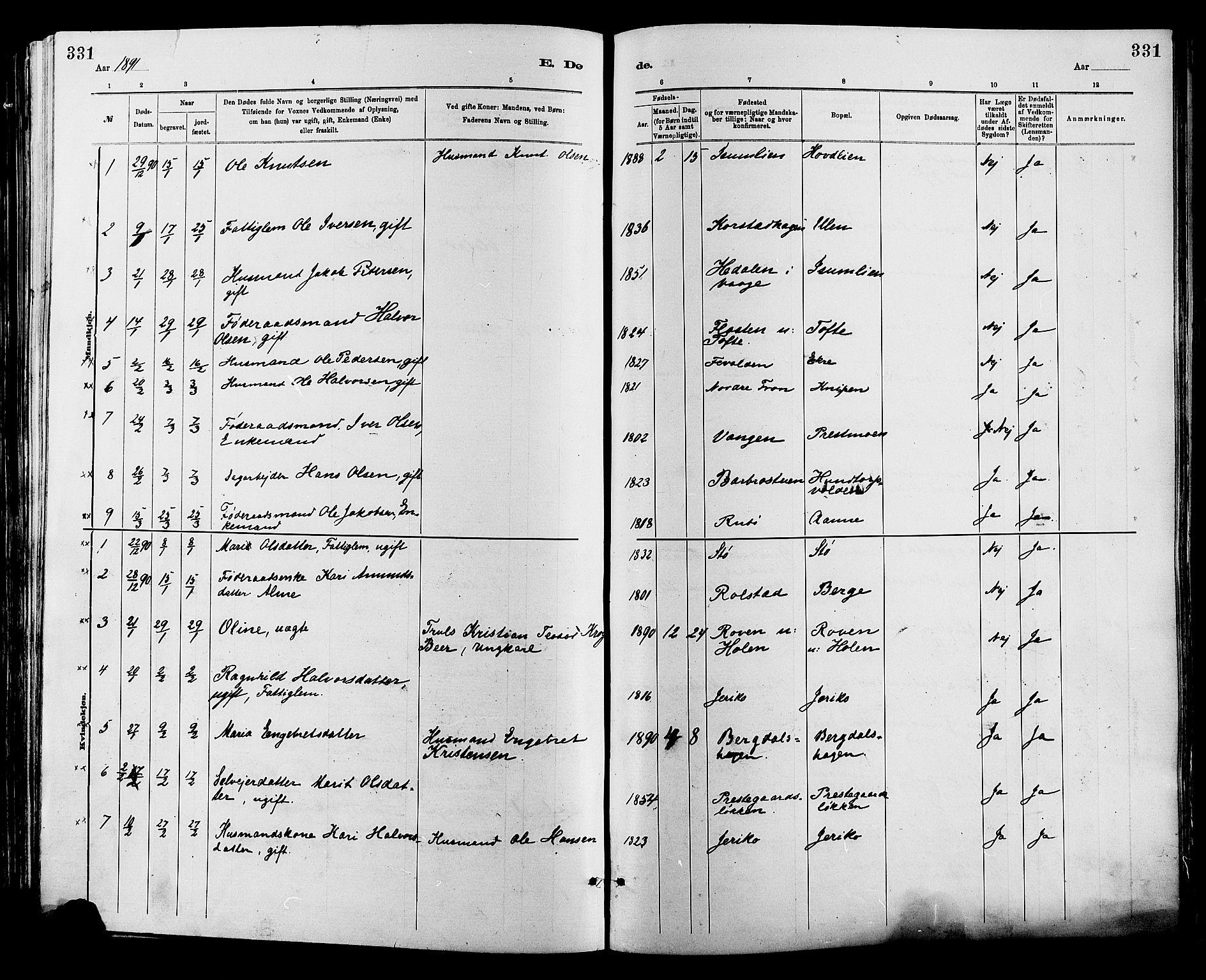 SAH, Sør-Fron prestekontor, H/Ha/Haa/L0003: Ministerialbok nr. 3, 1881-1897, s. 331