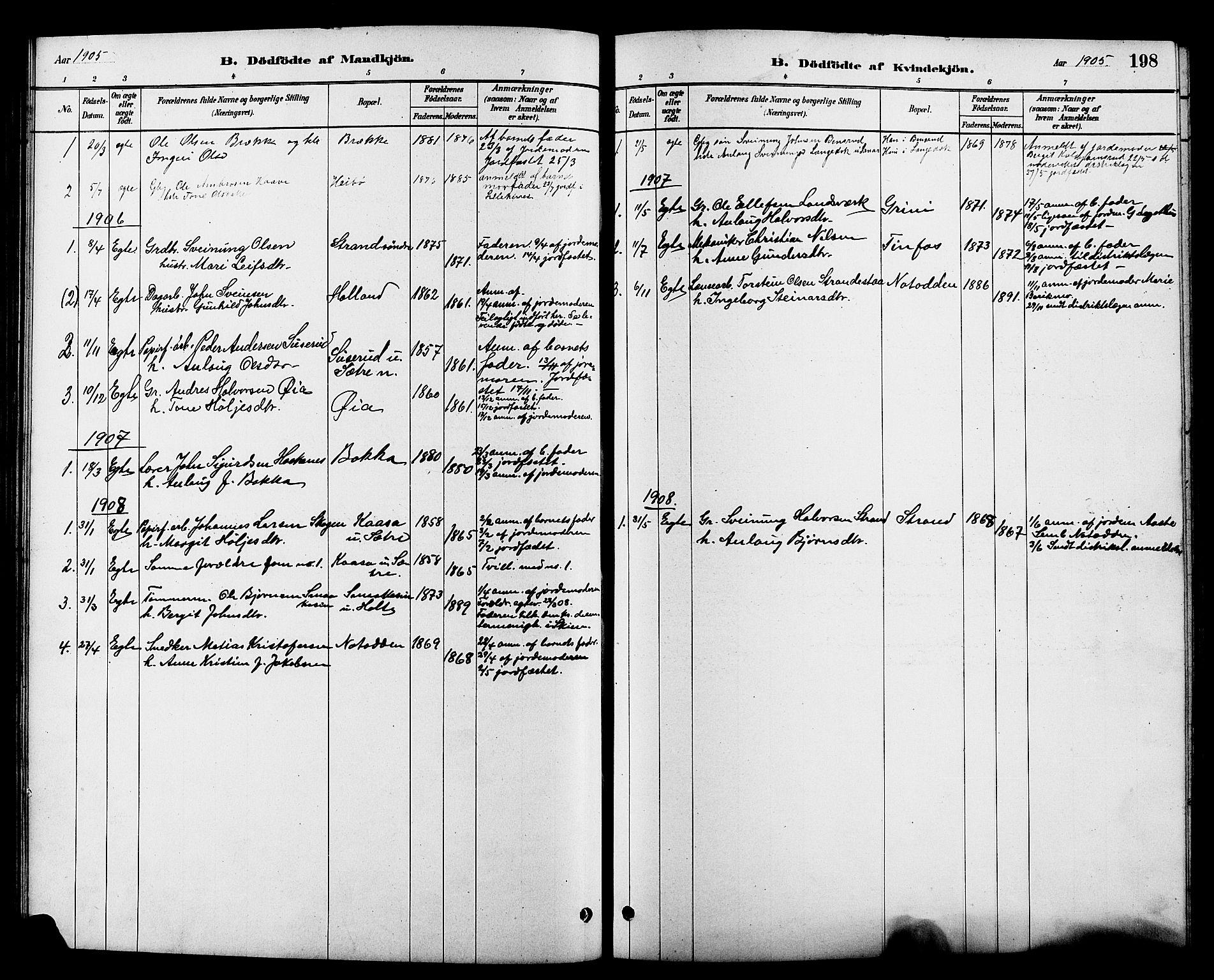 SAKO, Heddal kirkebøker, G/Ga/L0002: Klokkerbok nr. I 2, 1879-1908, s. 198