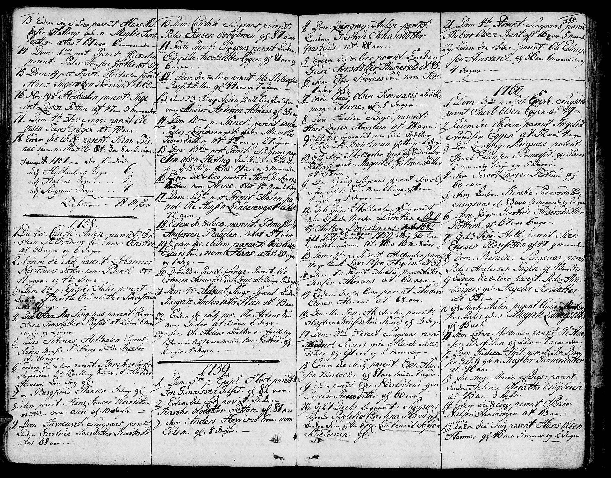 SAT, Ministerialprotokoller, klokkerbøker og fødselsregistre - Sør-Trøndelag, 685/L0952: Ministerialbok nr. 685A01, 1745-1804, s. 155