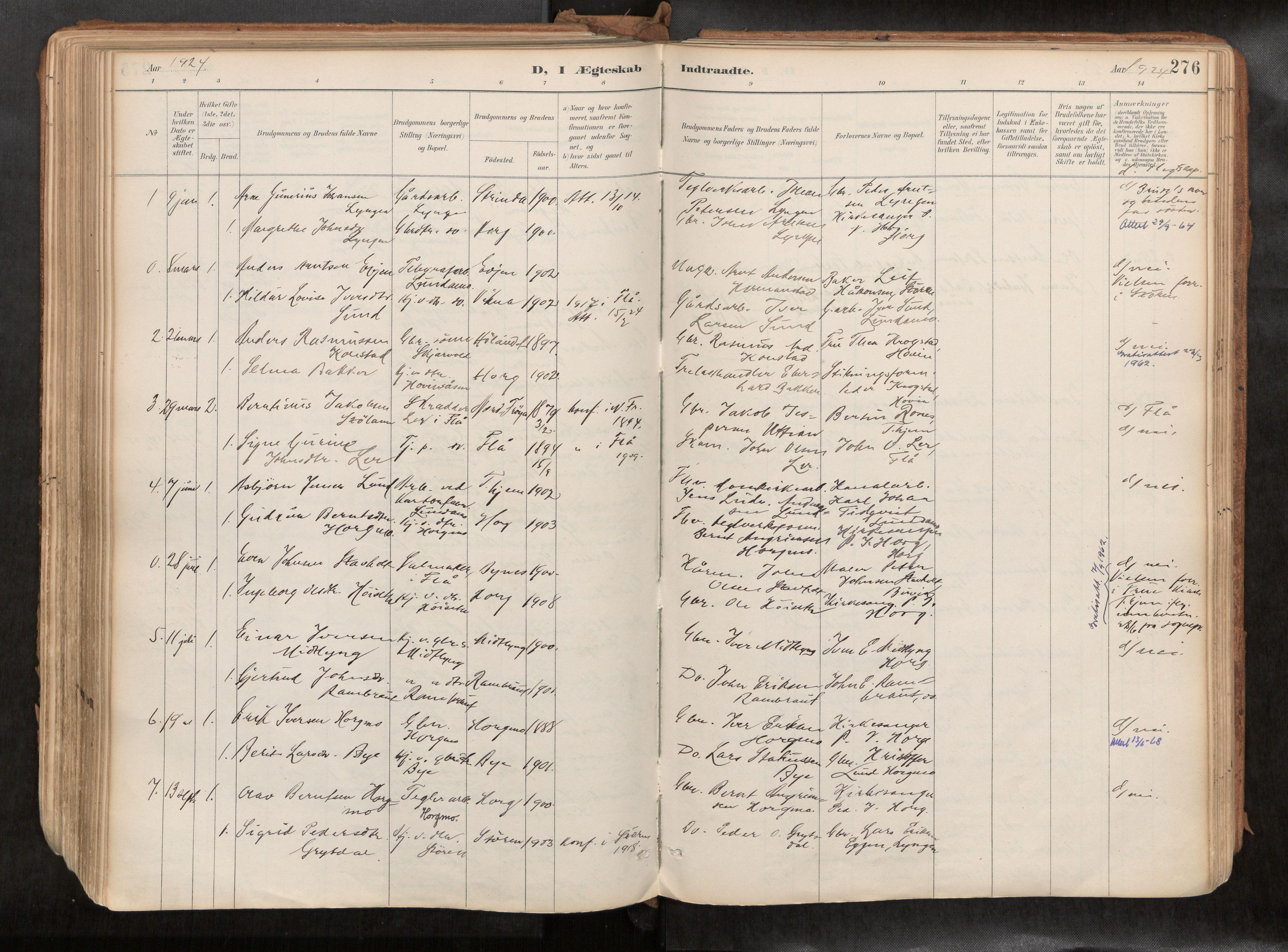 SAT, Ministerialprotokoller, klokkerbøker og fødselsregistre - Sør-Trøndelag, 692/L1105b: Ministerialbok nr. 692A06, 1891-1934, s. 276