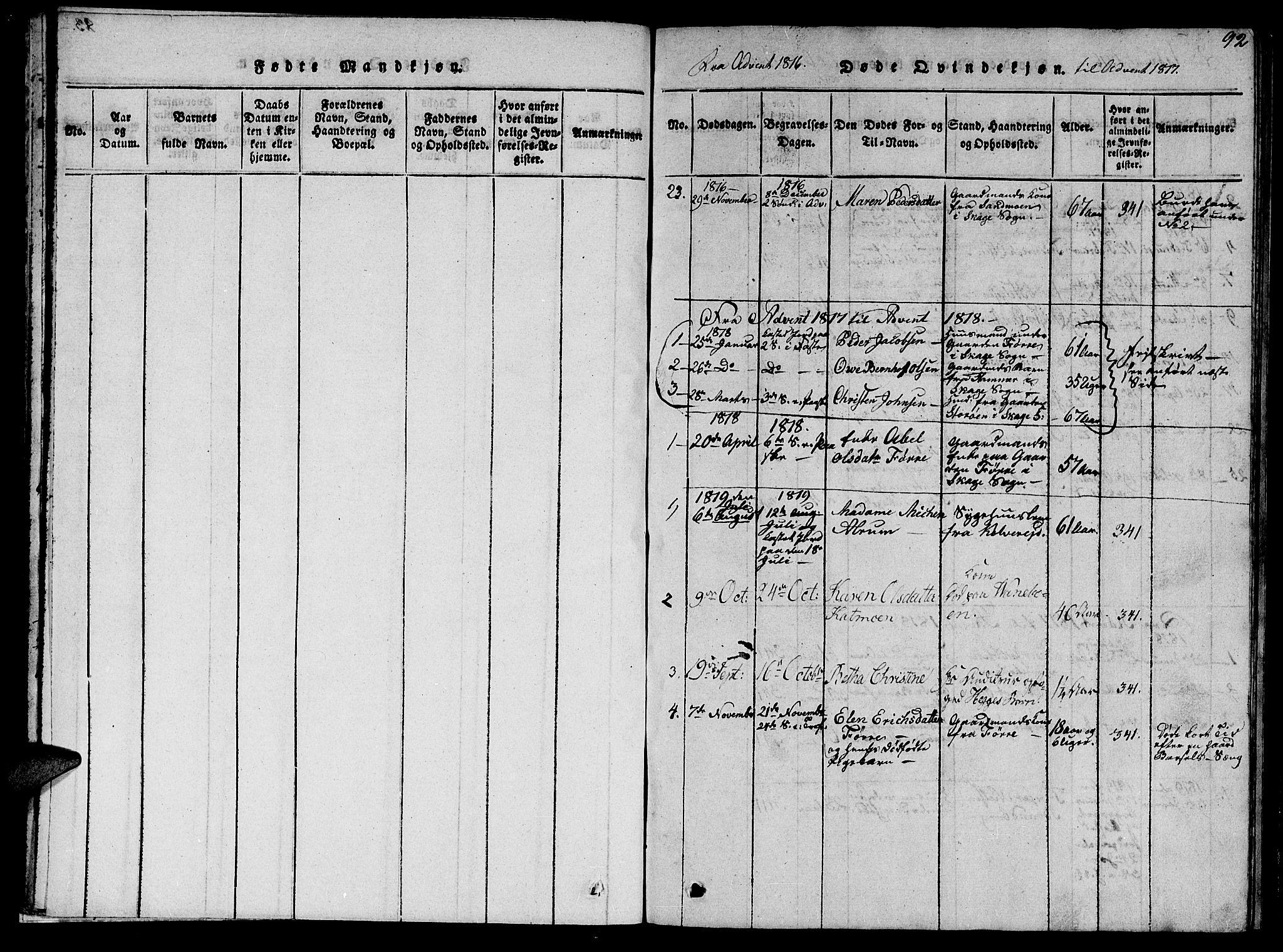 SAT, Ministerialprotokoller, klokkerbøker og fødselsregistre - Nord-Trøndelag, 766/L0565: Klokkerbok nr. 767C01, 1817-1823, s. 92