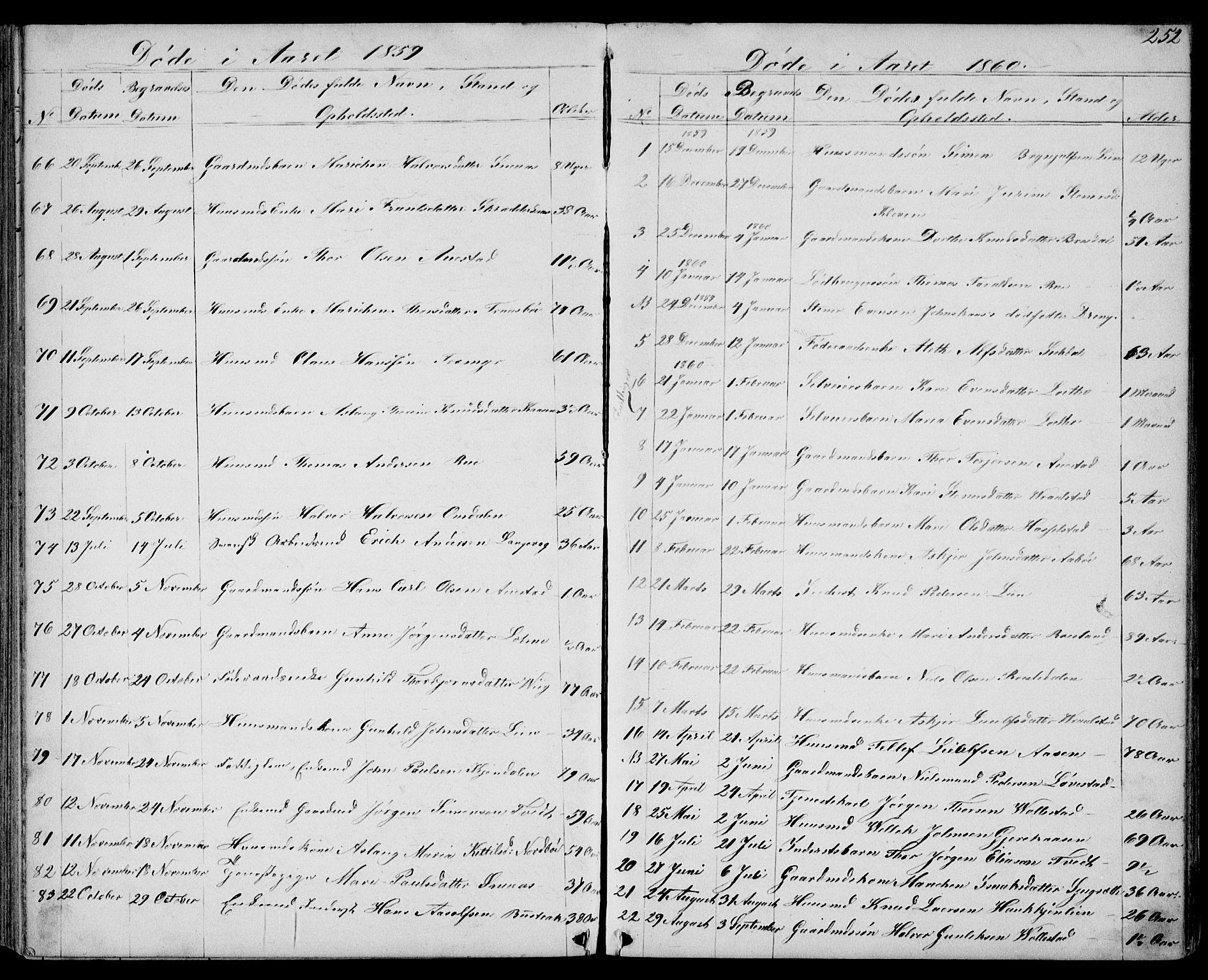 SAKO, Drangedal kirkebøker, G/Gb/L0001: Klokkerbok nr. II 1, 1856-1894, s. 252