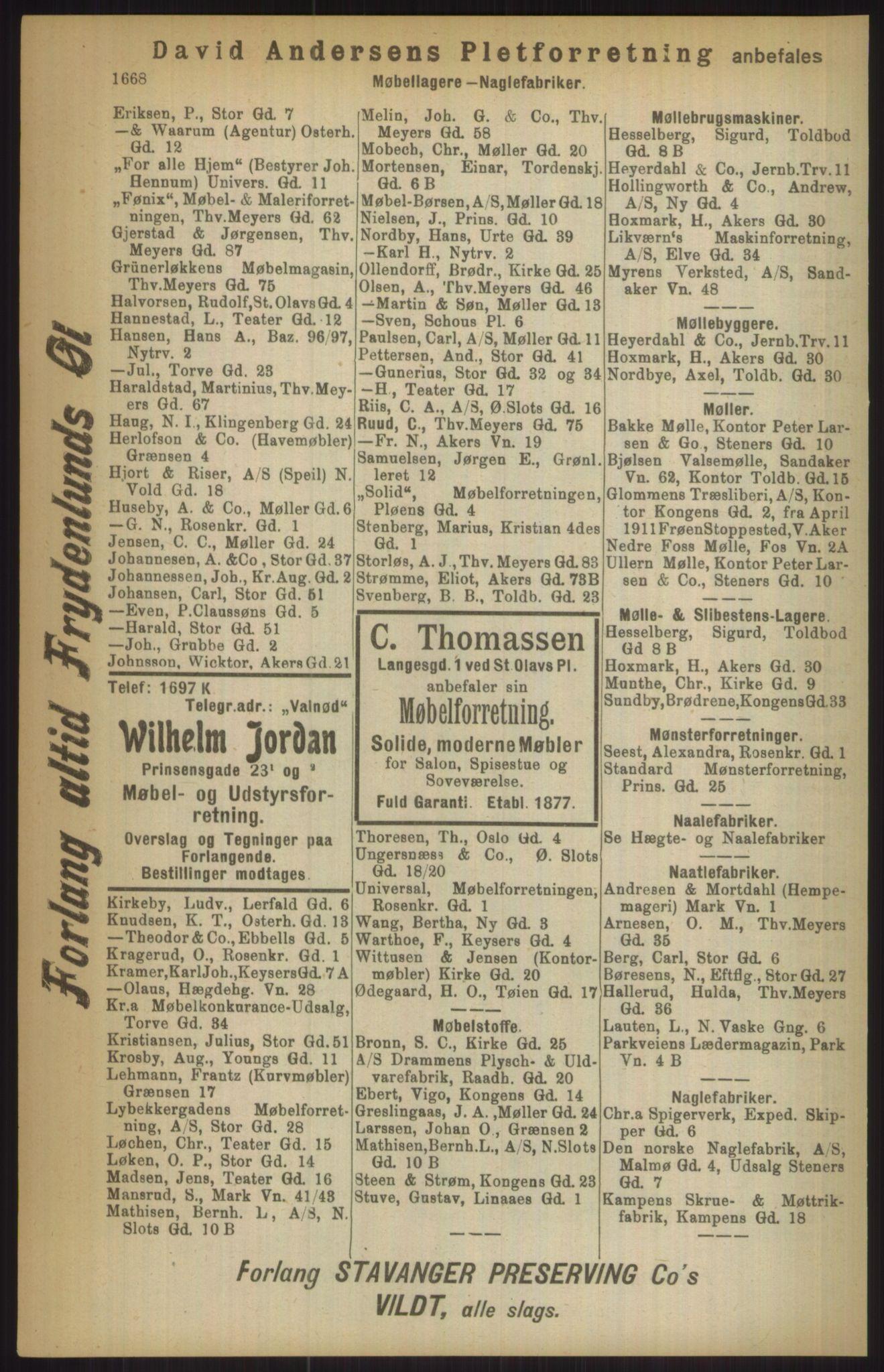 RA, Kristiania adressebok (publikasjon)*, 1911, s. 1668
