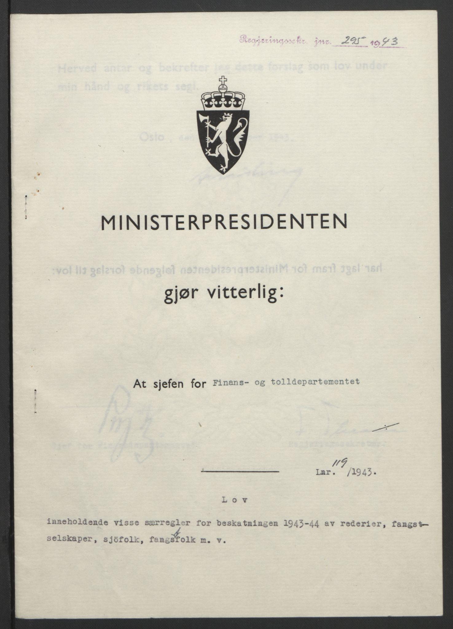 RA, NS-administrasjonen 1940-1945 (Statsrådsekretariatet, de kommisariske statsråder mm), D/Db/L0099: Lover, 1943, s. 552