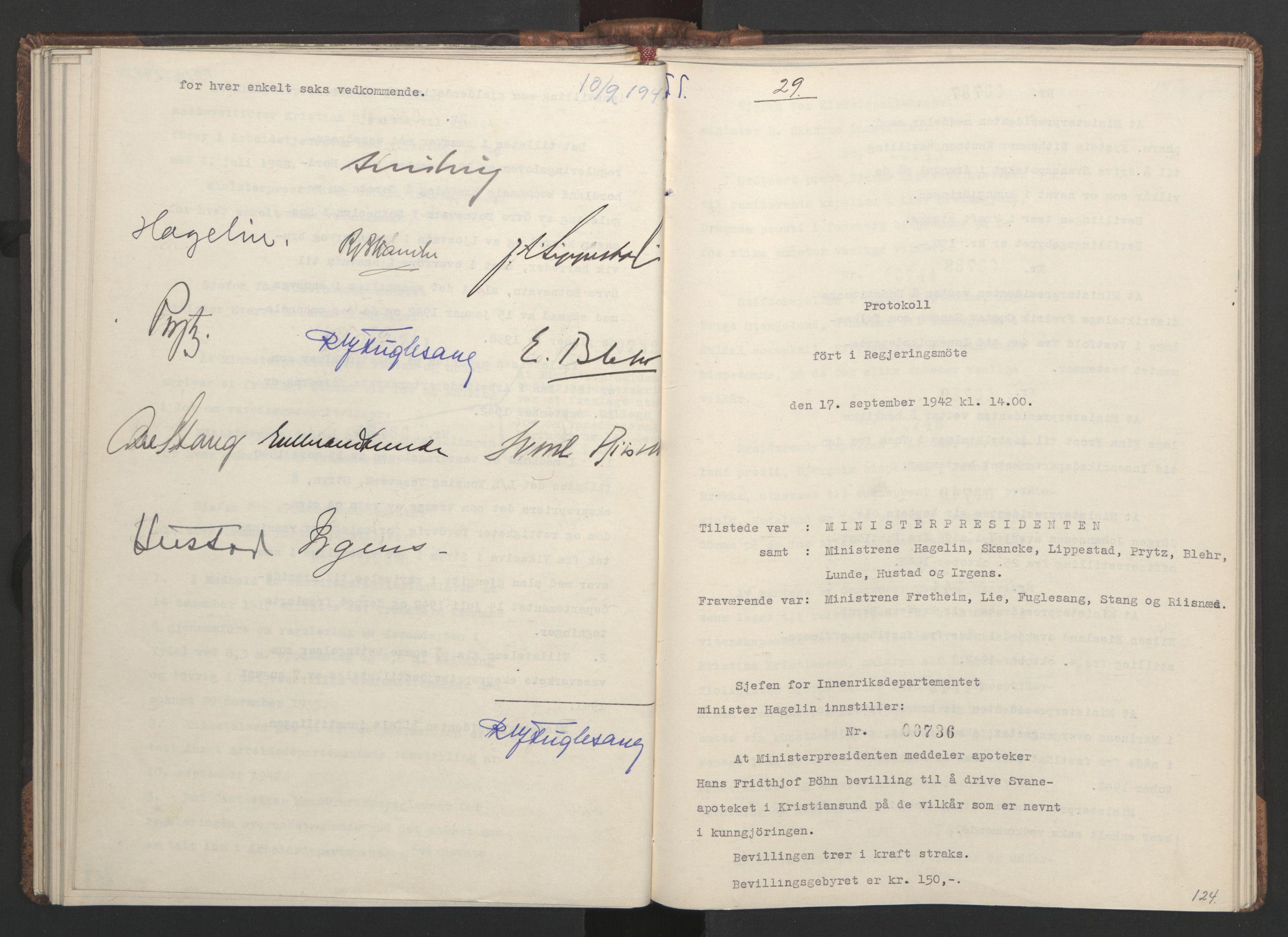 RA, NS-administrasjonen 1940-1945 (Statsrådsekretariatet, de kommisariske statsråder mm), D/Da/L0001: Beslutninger og tillegg (1-952 og 1-32), 1942, s. 123b-124a
