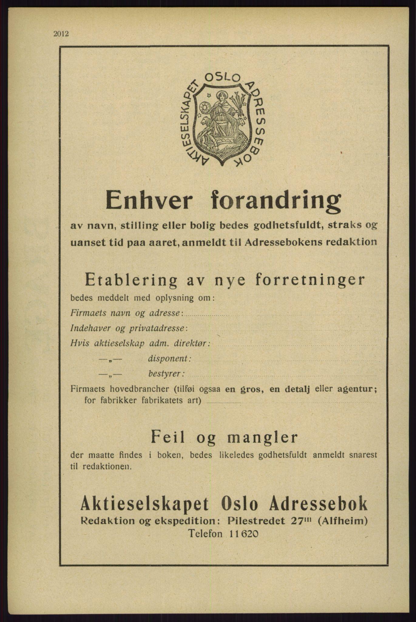 RA, Oslo adressebok (publikasjon)*, 1929, s. 2012