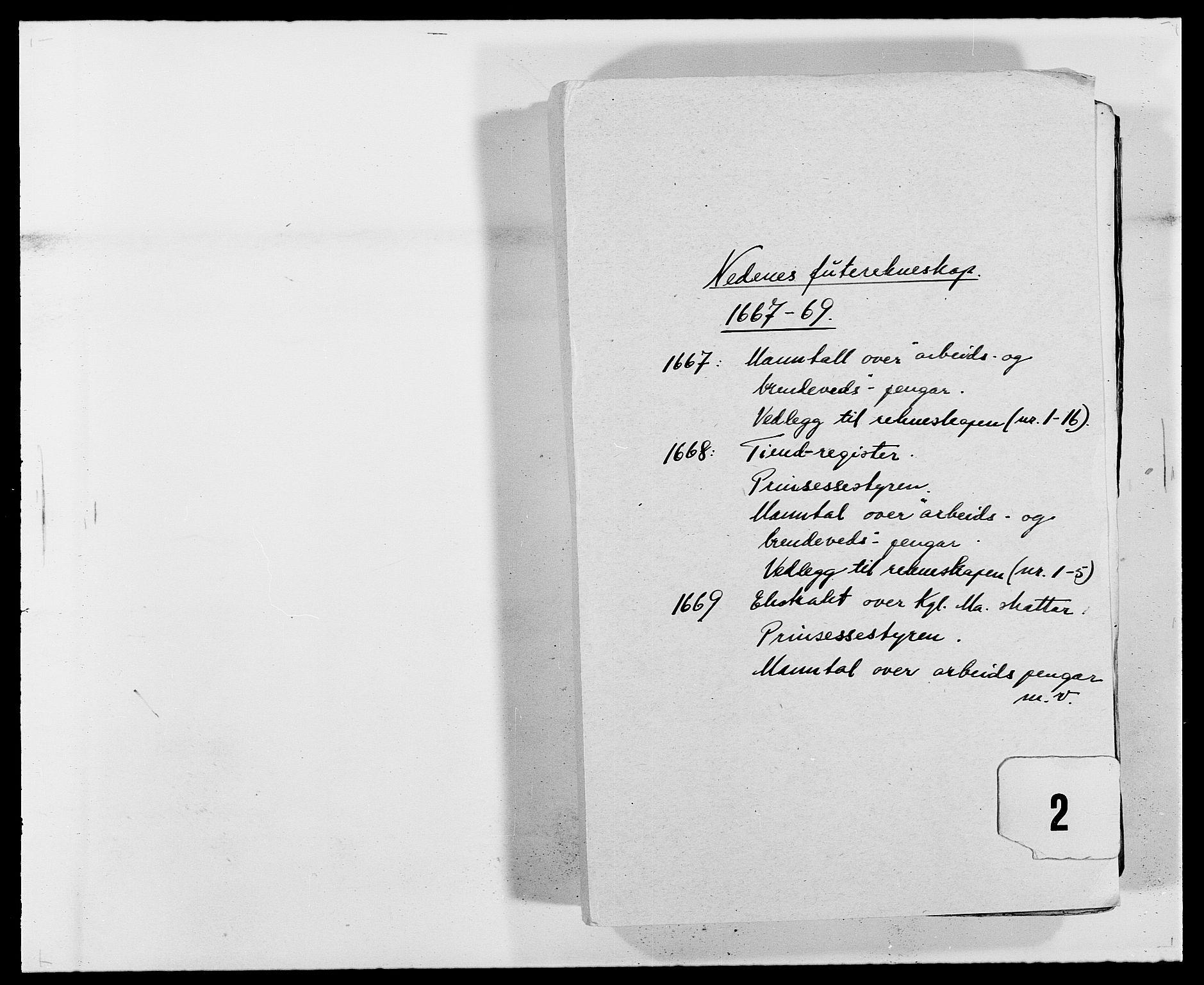 RA, Rentekammeret inntil 1814, Reviderte regnskaper, Fogderegnskap, R39/L2298: Fogderegnskap Nedenes, 1667-1669, s. 1