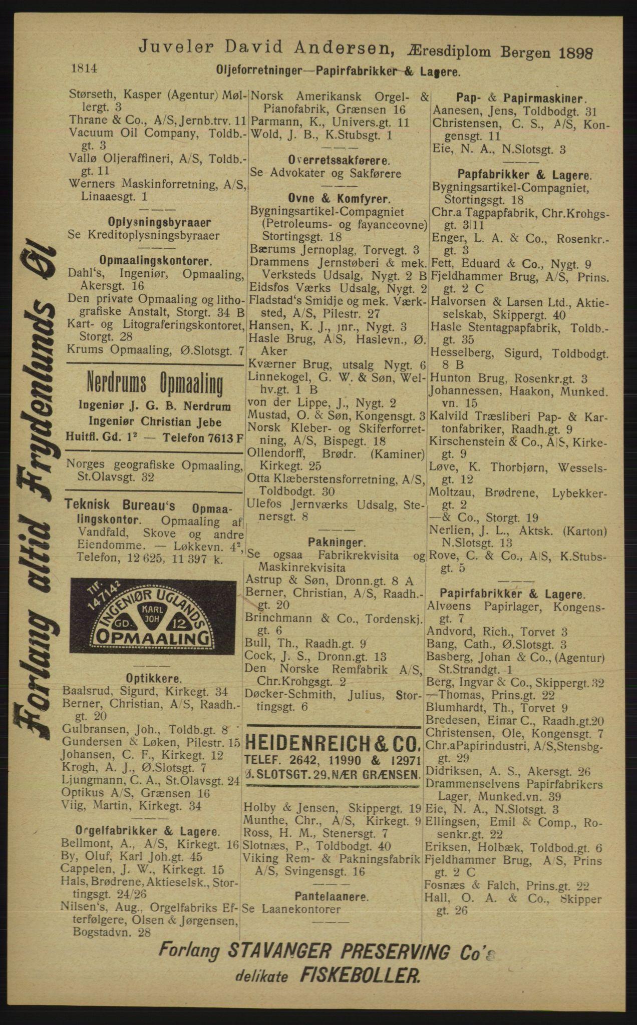 RA, Kristiania adressebok (publikasjon)*, 1913, s. 1814