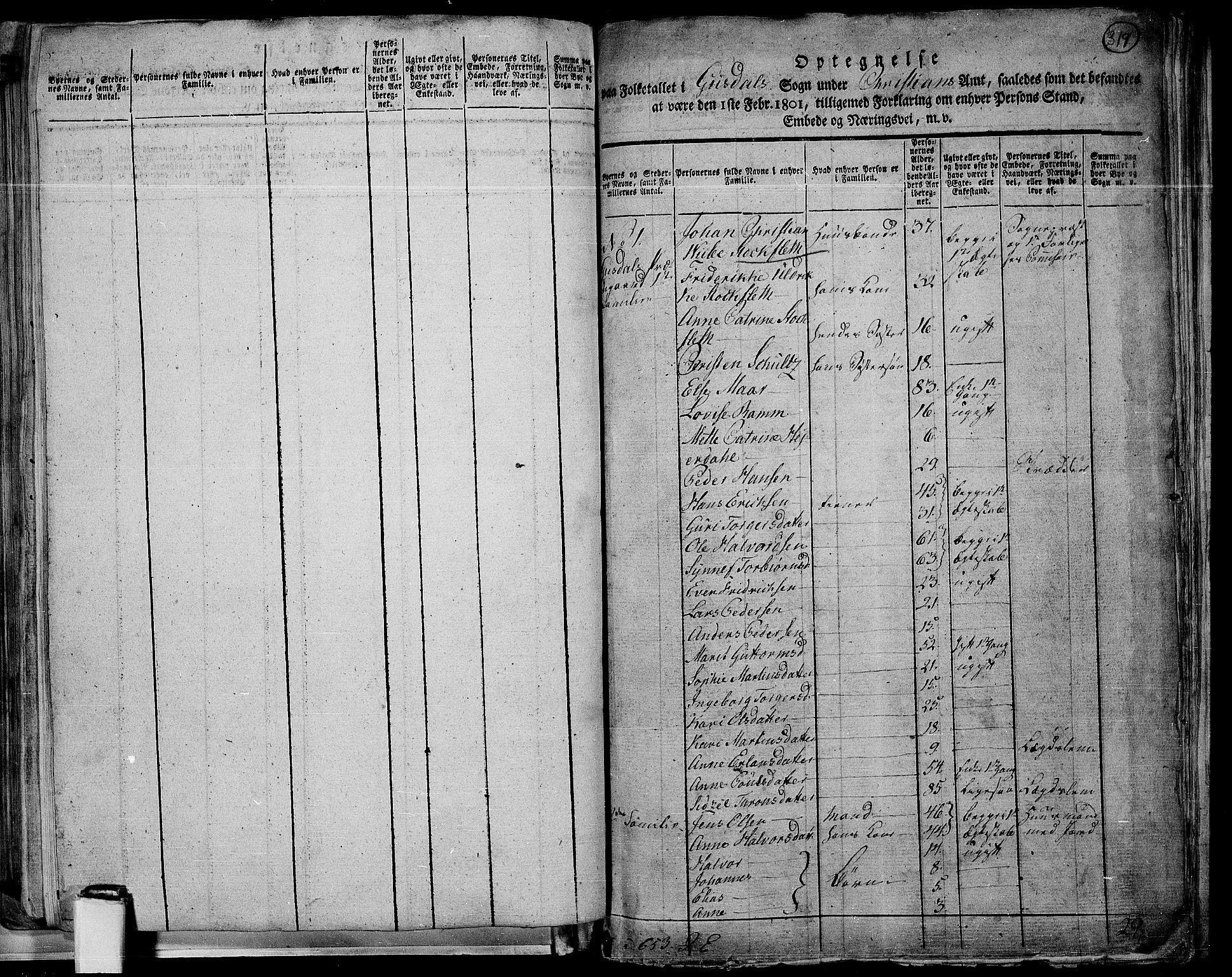 RA, Folketelling 1801 for 0522P Gausdal prestegjeld, 1801, s. 318b-319a