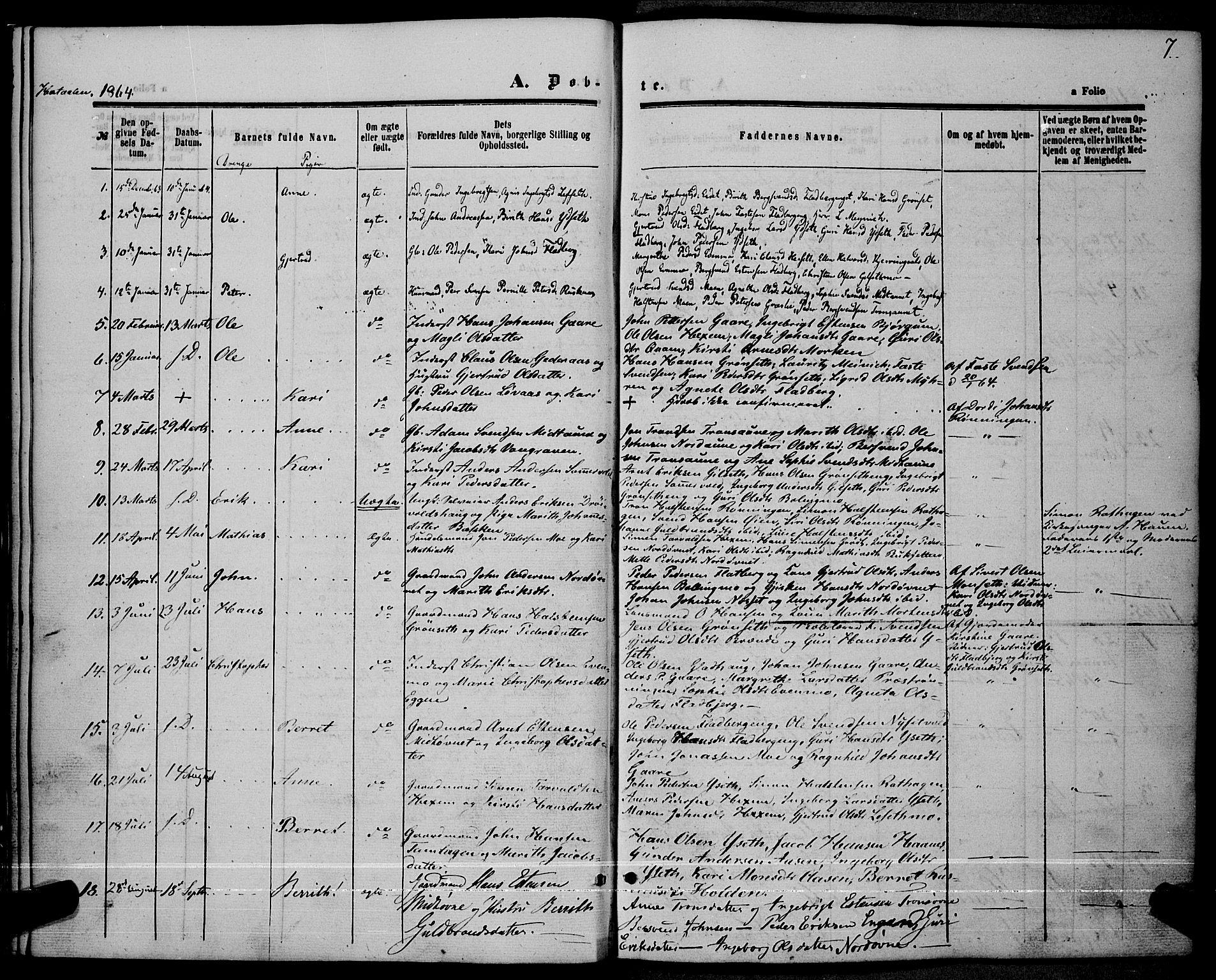 SAT, Ministerialprotokoller, klokkerbøker og fødselsregistre - Sør-Trøndelag, 685/L0966: Ministerialbok nr. 685A07 /1, 1860-1869, s. 7