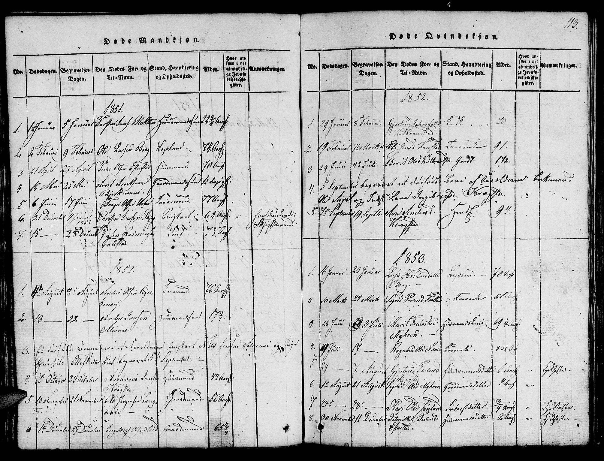 SAT, Ministerialprotokoller, klokkerbøker og fødselsregistre - Sør-Trøndelag, 694/L1130: Klokkerbok nr. 694C02, 1816-1857, s. 113