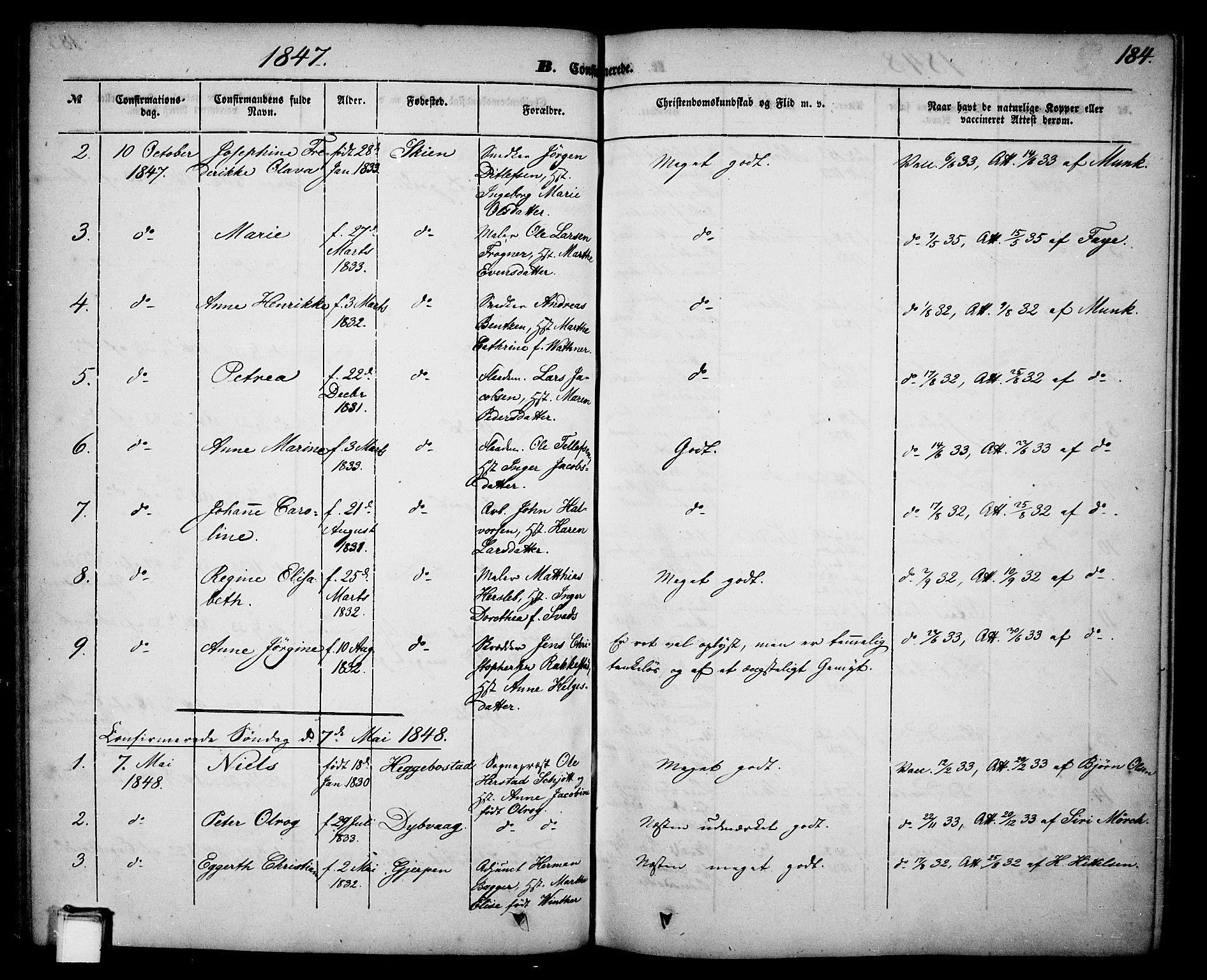 SAKO, Skien kirkebøker, G/Ga/L0004: Klokkerbok nr. 4, 1843-1867, s. 184