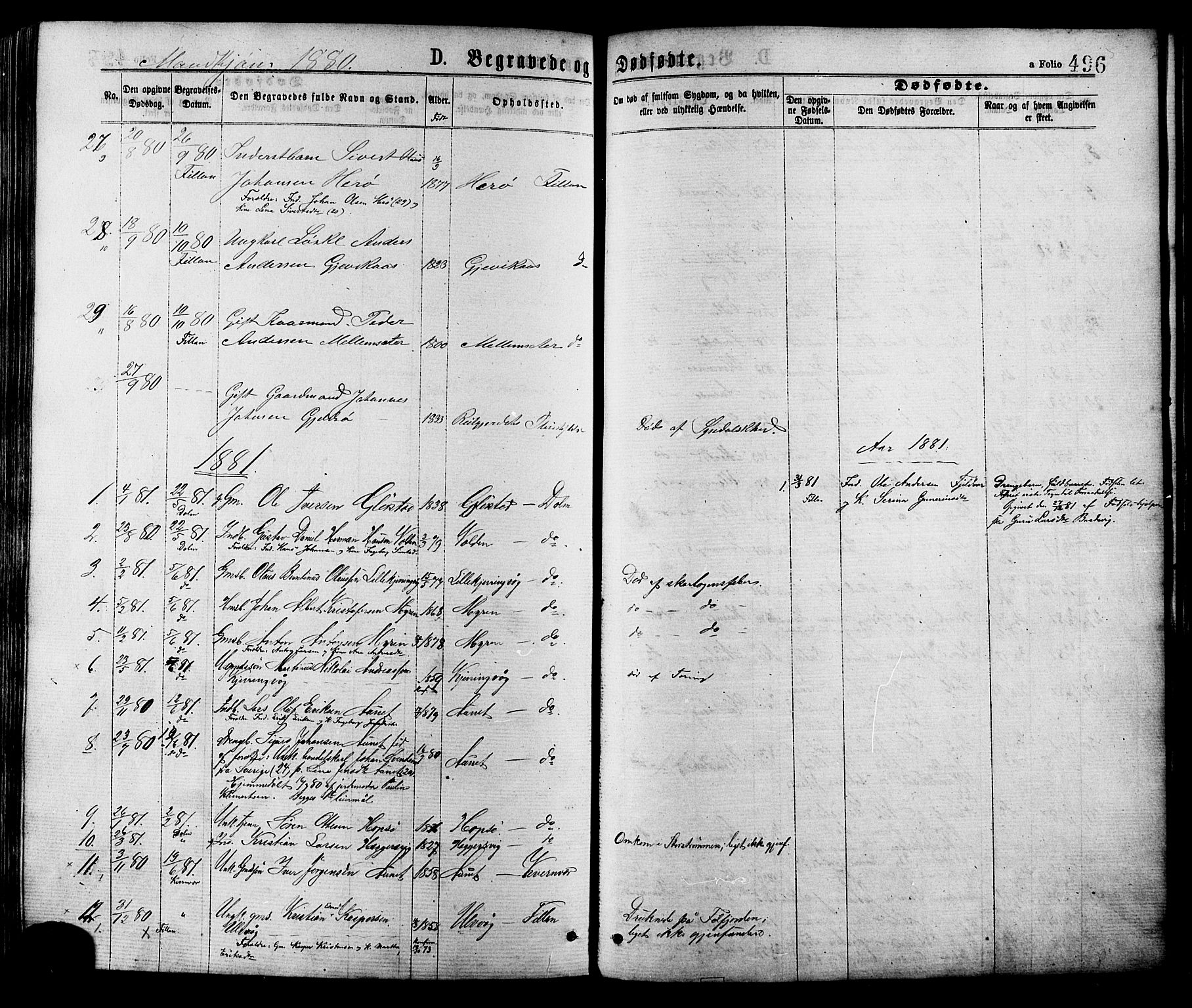 SAT, Ministerialprotokoller, klokkerbøker og fødselsregistre - Sør-Trøndelag, 634/L0532: Ministerialbok nr. 634A08, 1871-1881, s. 496