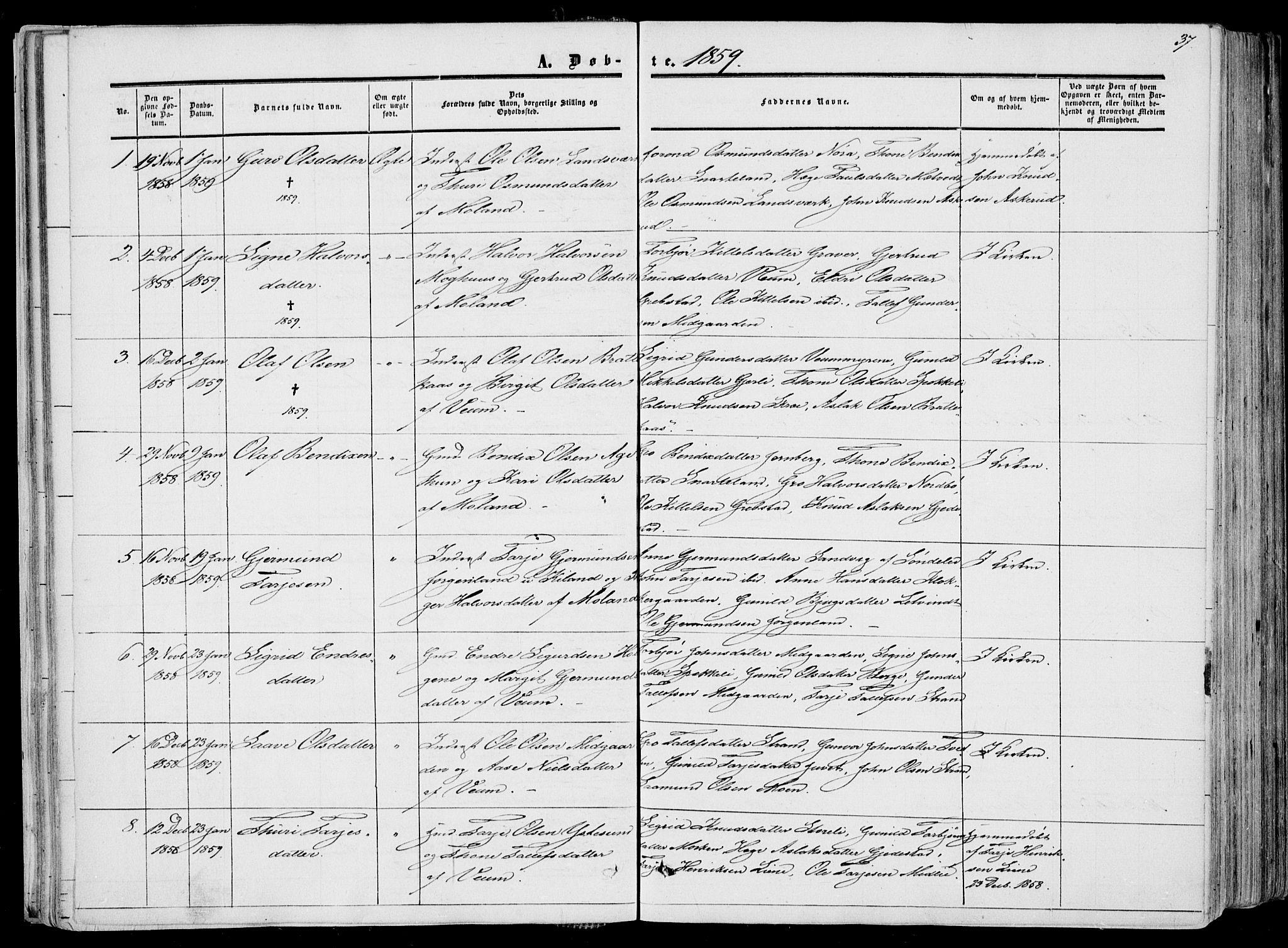 SAKO, Fyresdal kirkebøker, F/Fa/L0005: Ministerialbok nr. I 5, 1855-1871, s. 37