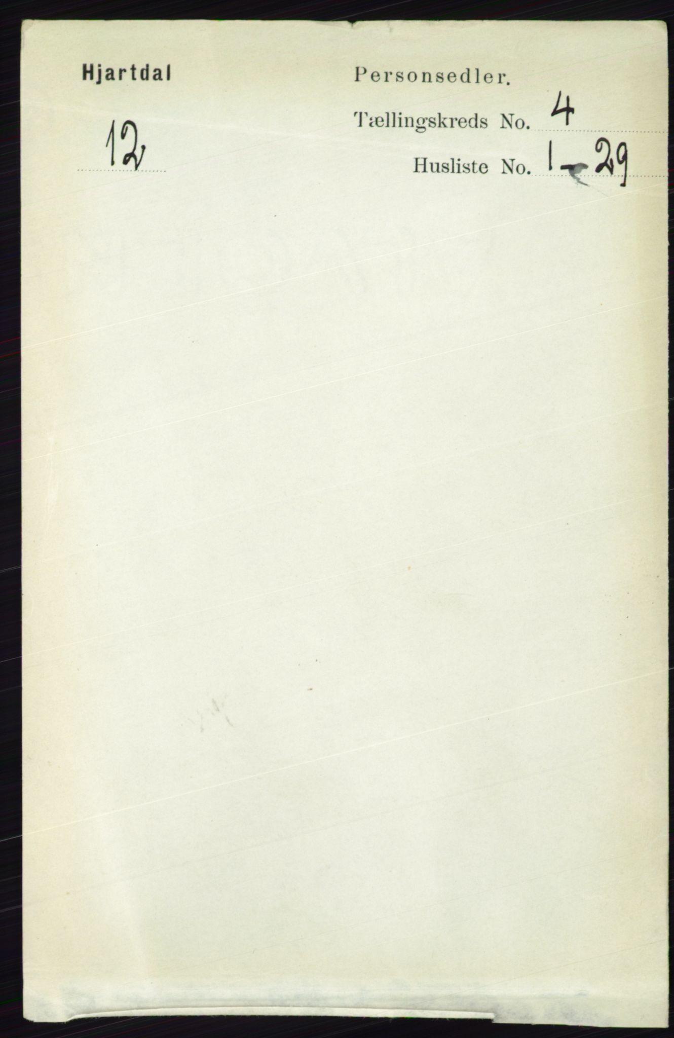 RA, Folketelling 1891 for 0827 Hjartdal herred, 1891, s. 1395