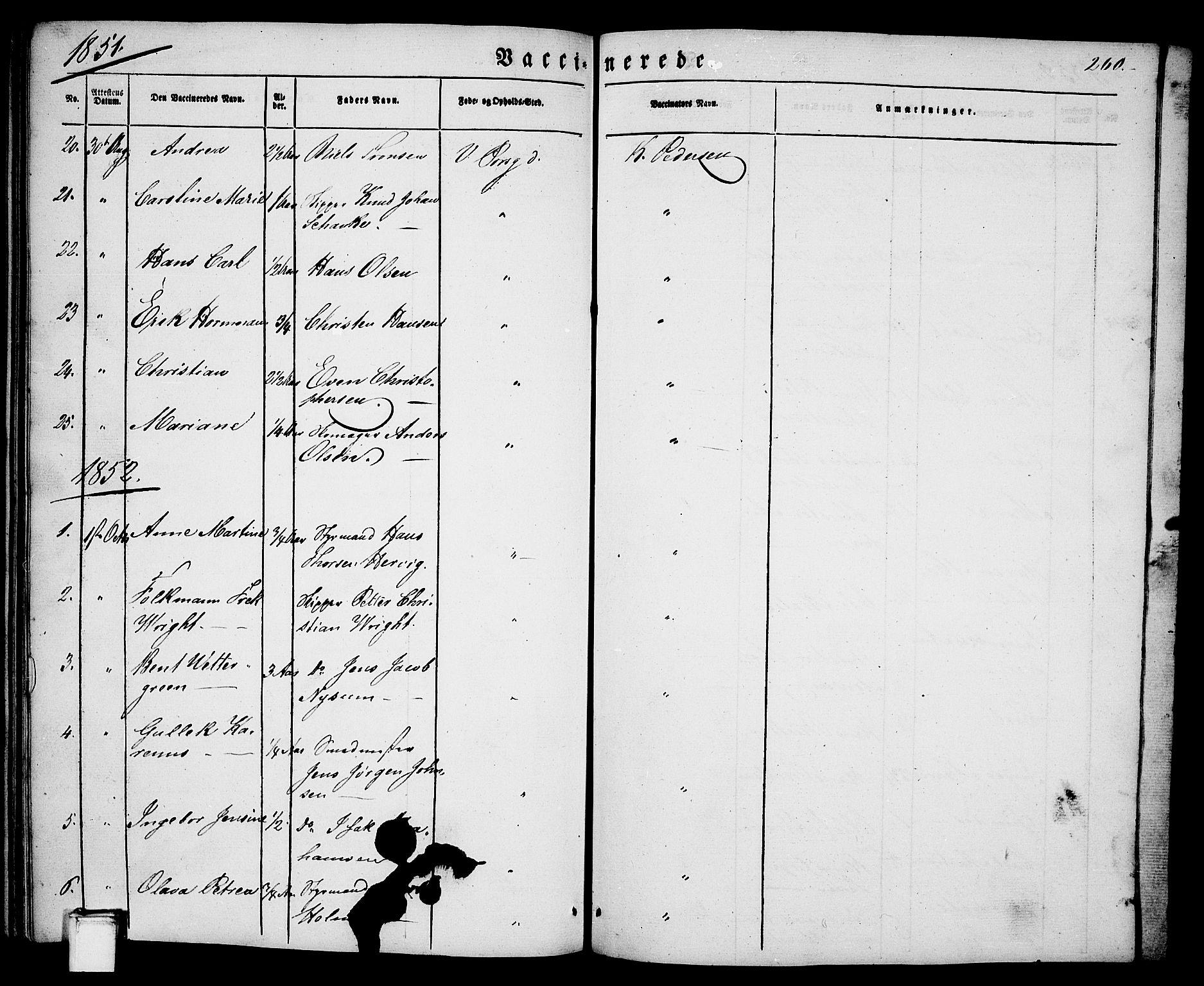 SAKO, Porsgrunn kirkebøker , G/Ga/L0002: Klokkerbok nr. I 2, 1847-1877, s. 260