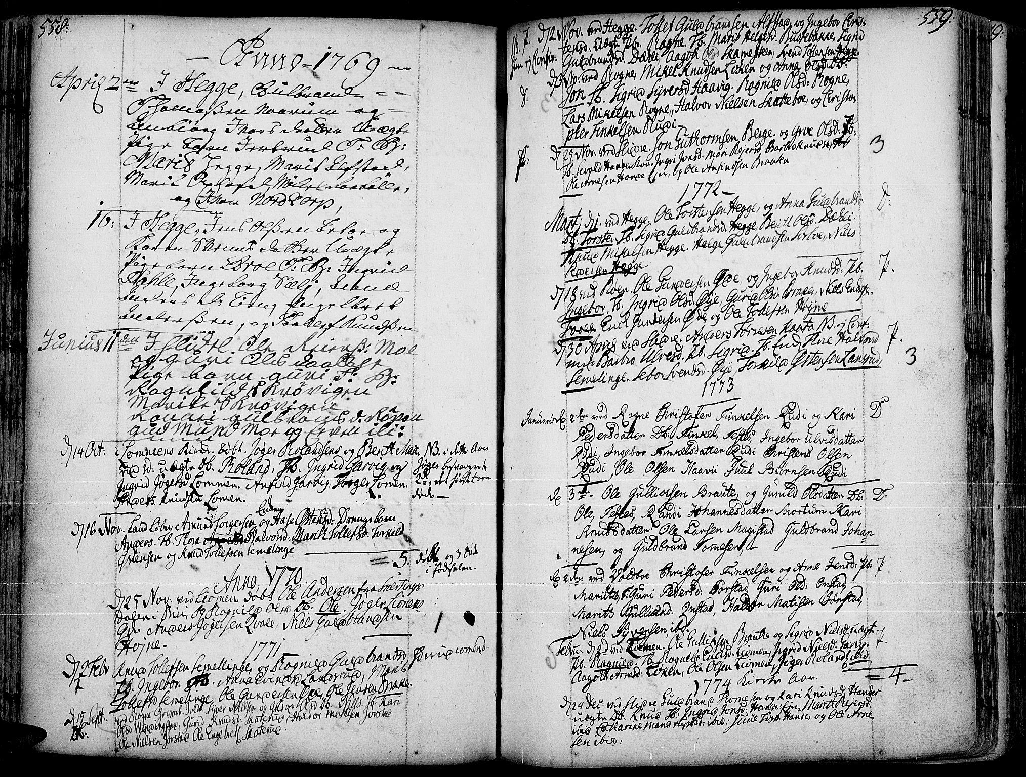 SAH, Slidre prestekontor, Ministerialbok nr. 1, 1724-1814, s. 558-559