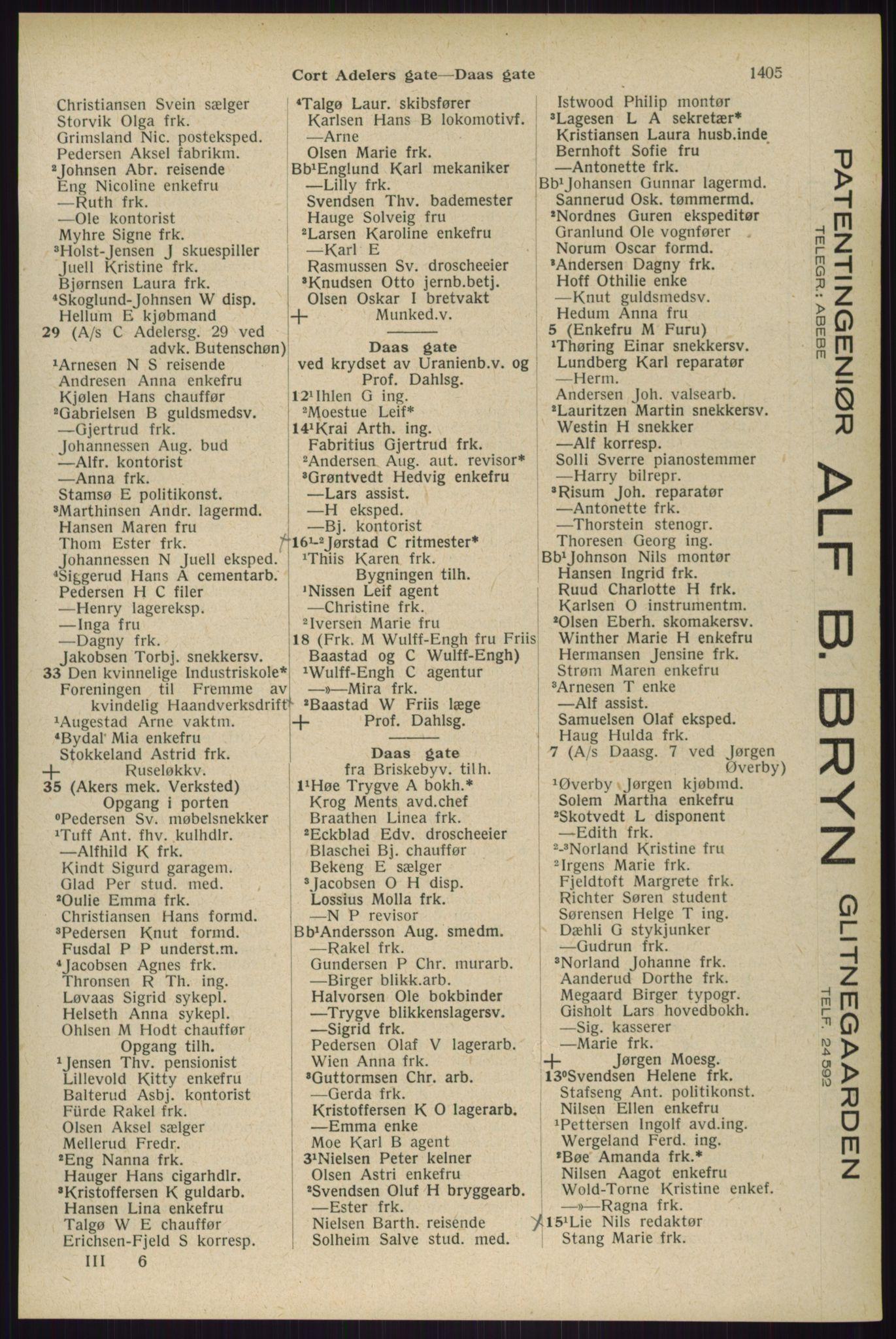 RA, Oslo adressebok (publikasjon)*, 1929, s. 1405