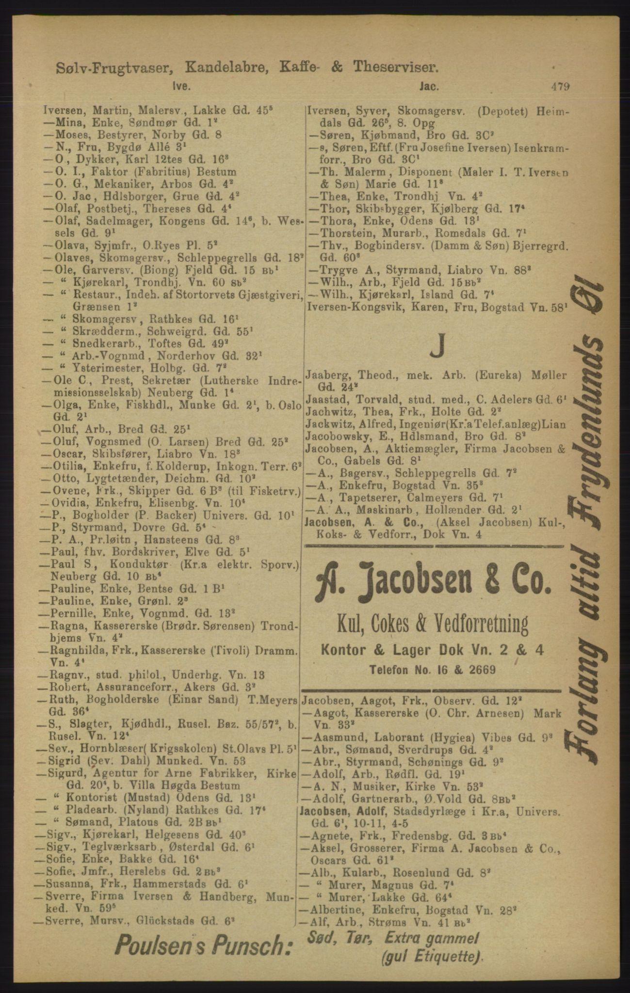 RA, Kristiania adressebok (publikasjon)*, 1906, s. 479