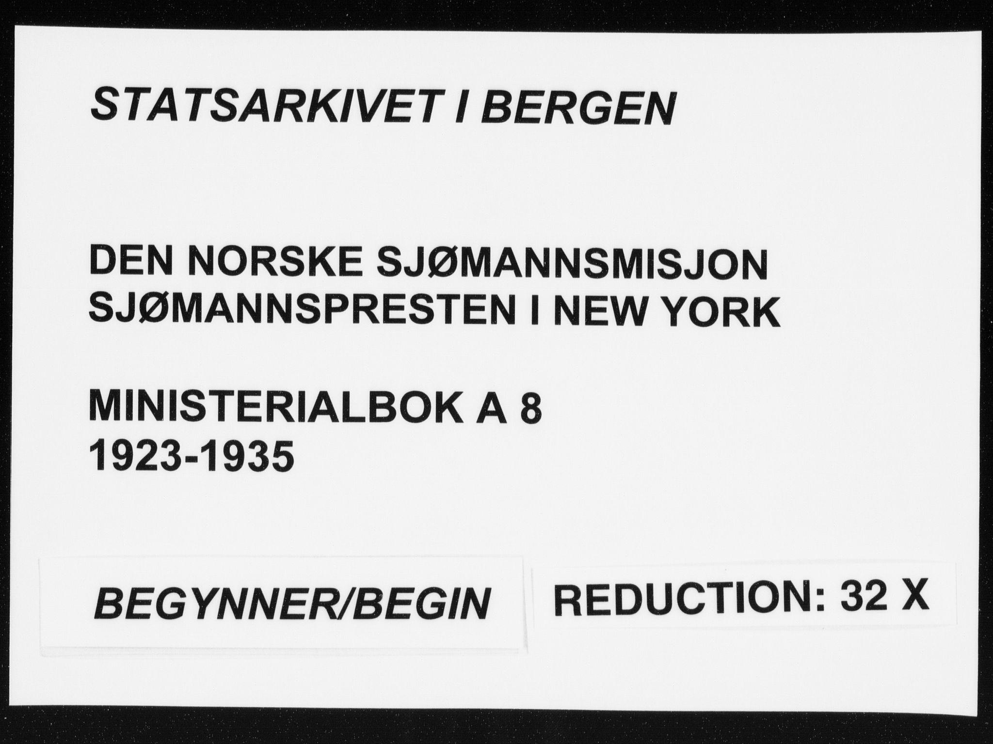 SAB, Den Norske Sjømannsmisjon i utlandet*, Ministerialbok nr. A 8, 1923-1935