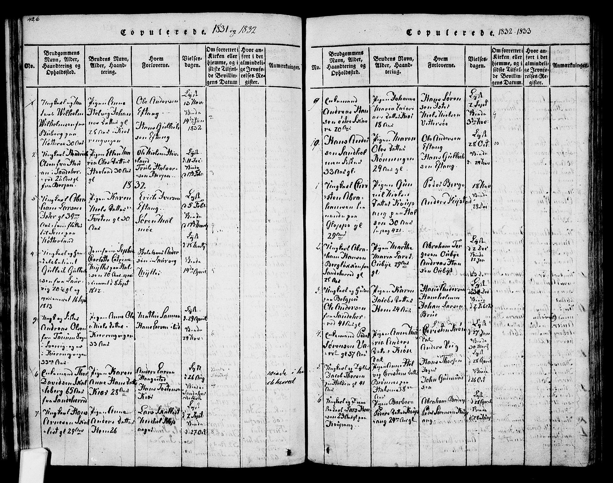 SAKO, Tjølling kirkebøker, F/Fa/L0005: Ministerialbok nr. 5, 1814-1836, s. 426-427