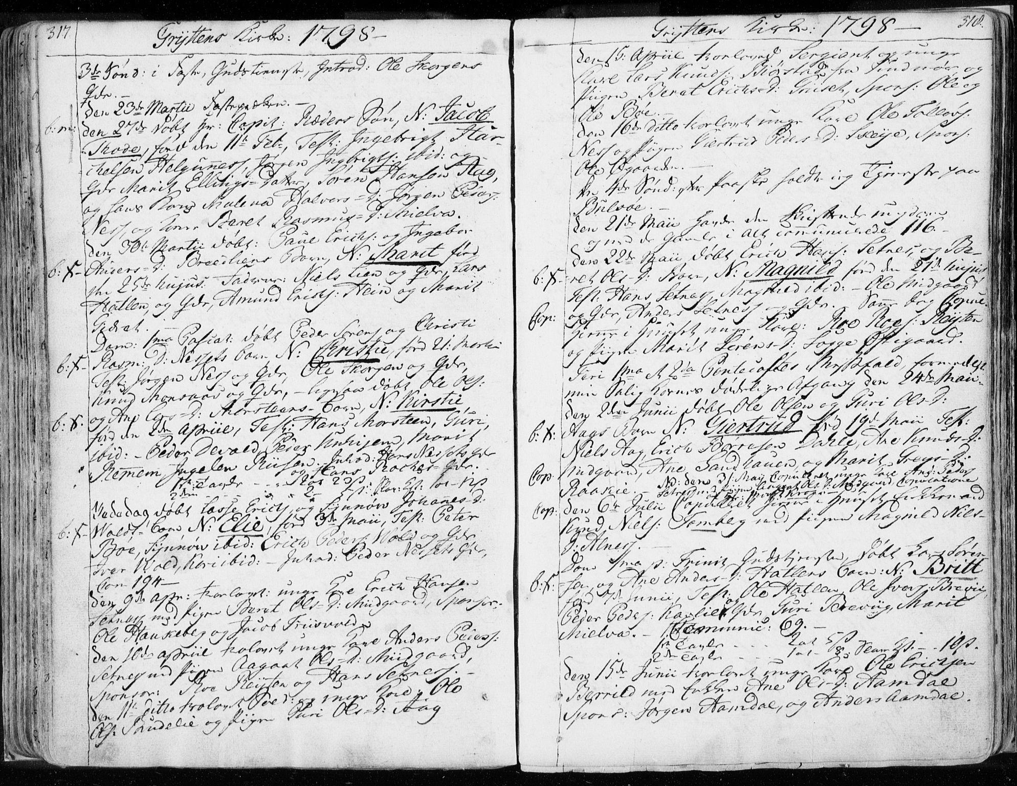 SAT, Ministerialprotokoller, klokkerbøker og fødselsregistre - Møre og Romsdal, 544/L0569: Ministerialbok nr. 544A02, 1764-1806, s. 317-318