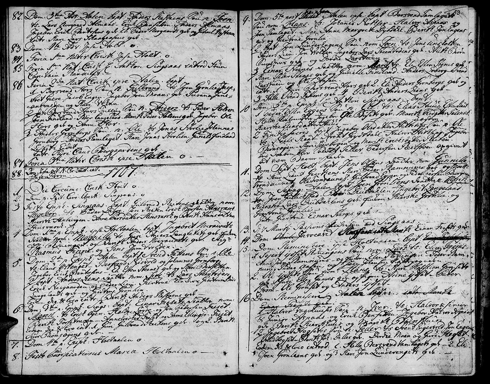 SAT, Ministerialprotokoller, klokkerbøker og fødselsregistre - Sør-Trøndelag, 685/L0952: Ministerialbok nr. 685A01, 1745-1804, s. 53