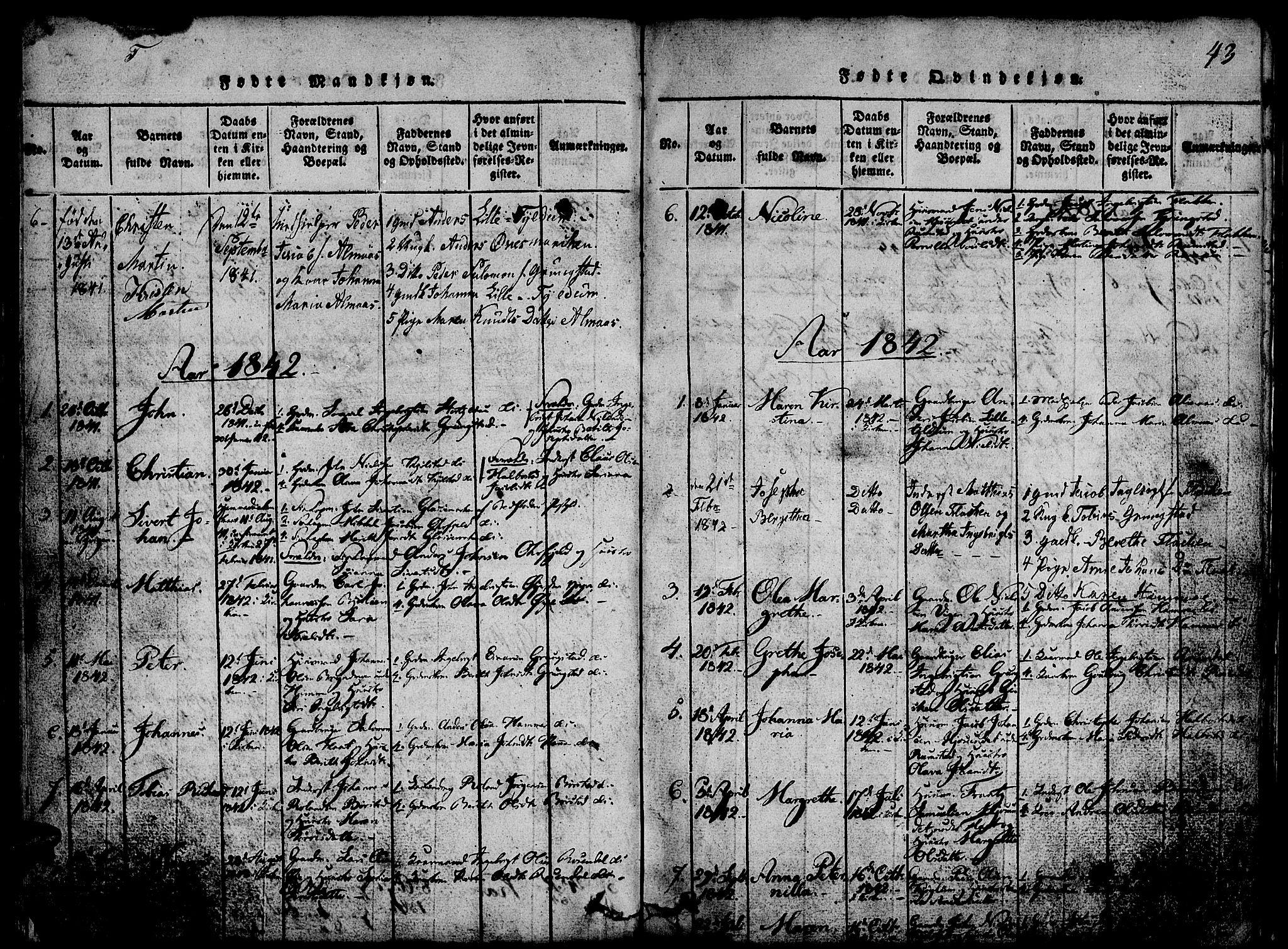 SAT, Ministerialprotokoller, klokkerbøker og fødselsregistre - Nord-Trøndelag, 765/L0562: Klokkerbok nr. 765C01, 1817-1851, s. 43