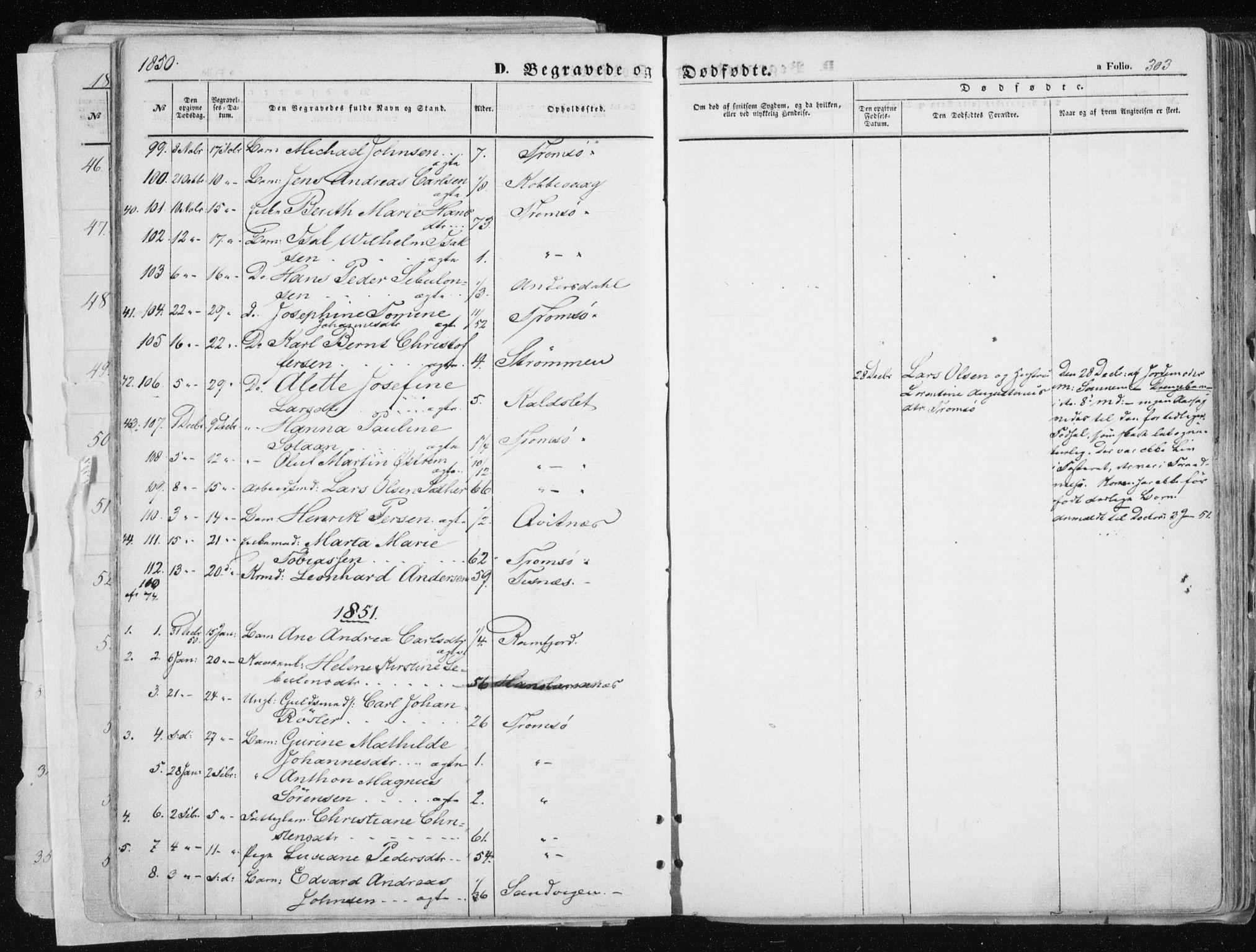 SATØ, Tromsø sokneprestkontor/stiftsprosti/domprosti, G/Ga/L0010kirke: Ministerialbok nr. 10, 1848-1855, s. 303